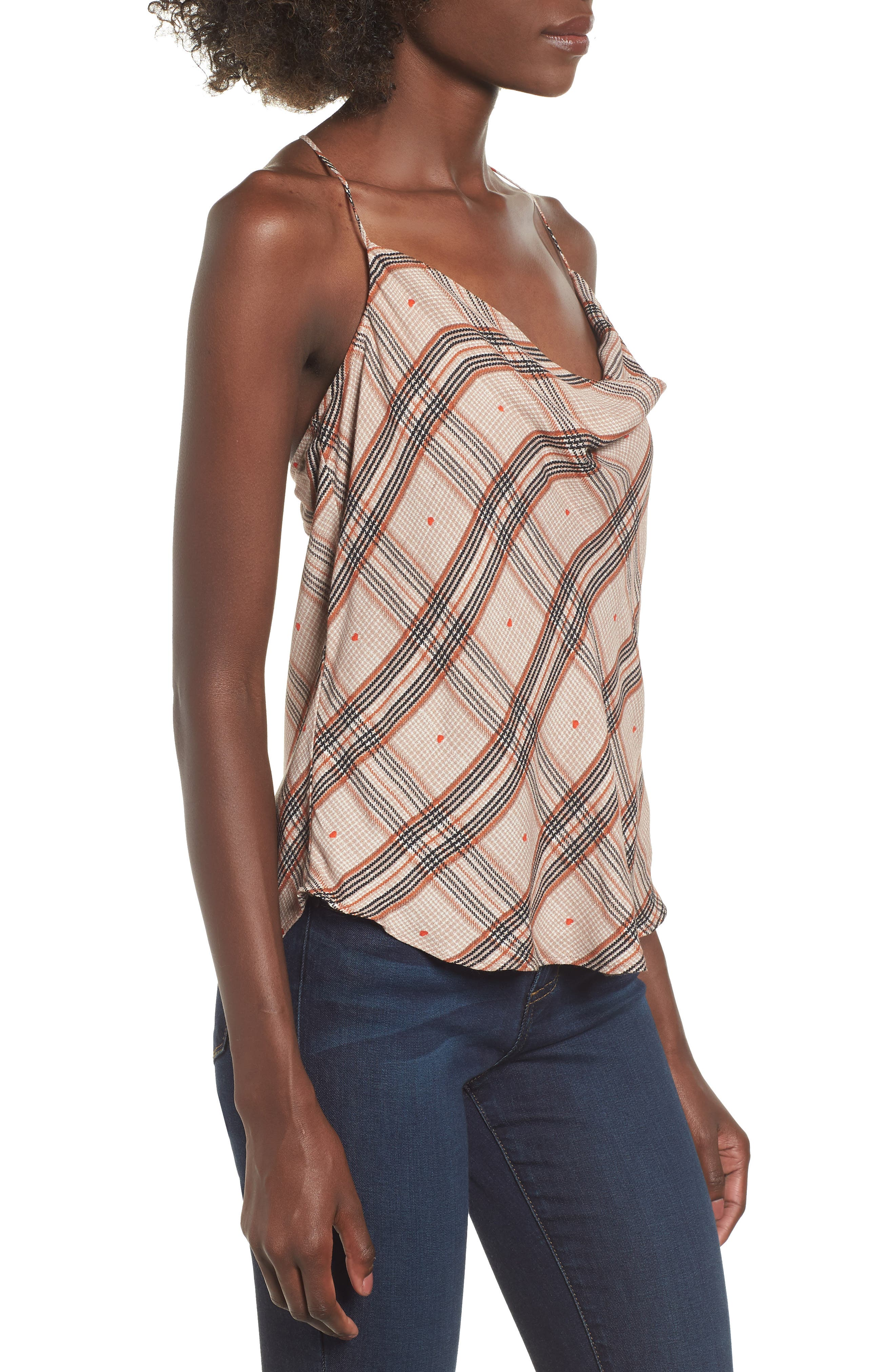 Finn T-Back Camisole,                             Alternate thumbnail 3, color,                             PLAID WITH HEART