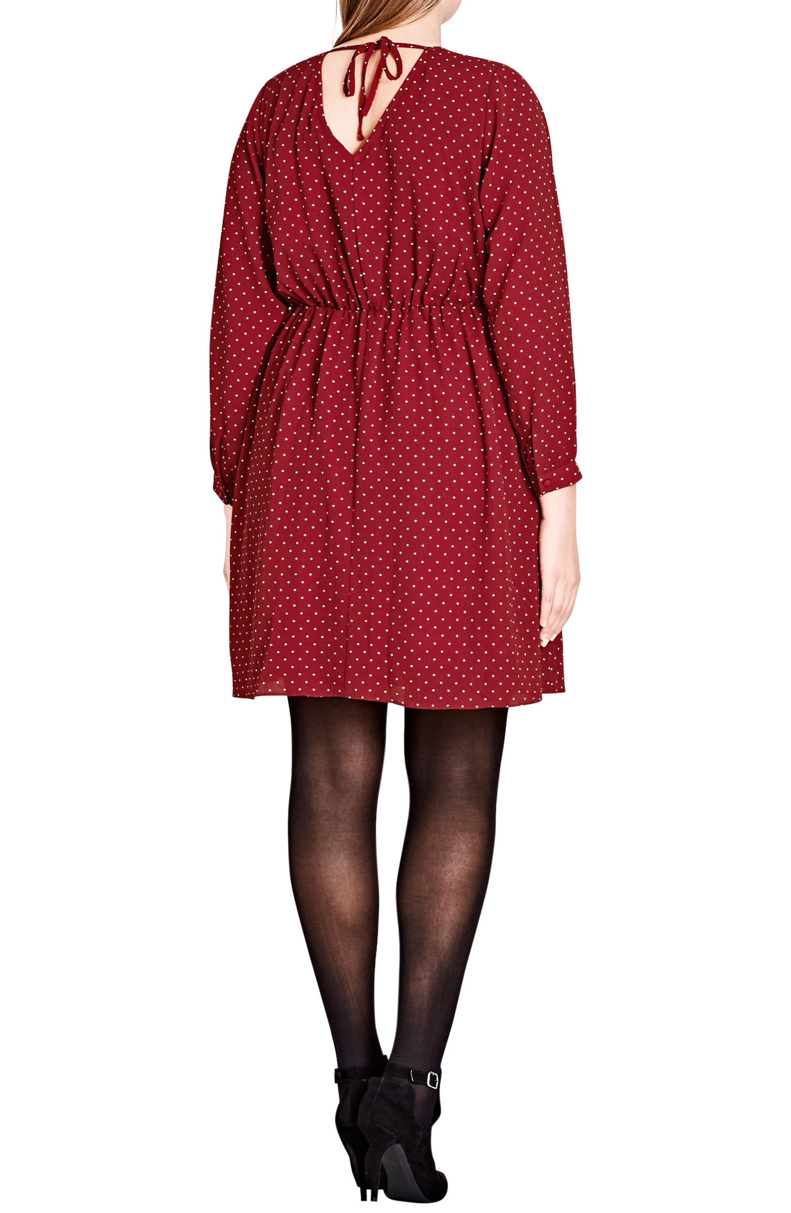 Sweet Nothing Polka Dot Dress,                             Alternate thumbnail 2, color,                             RED ROSE