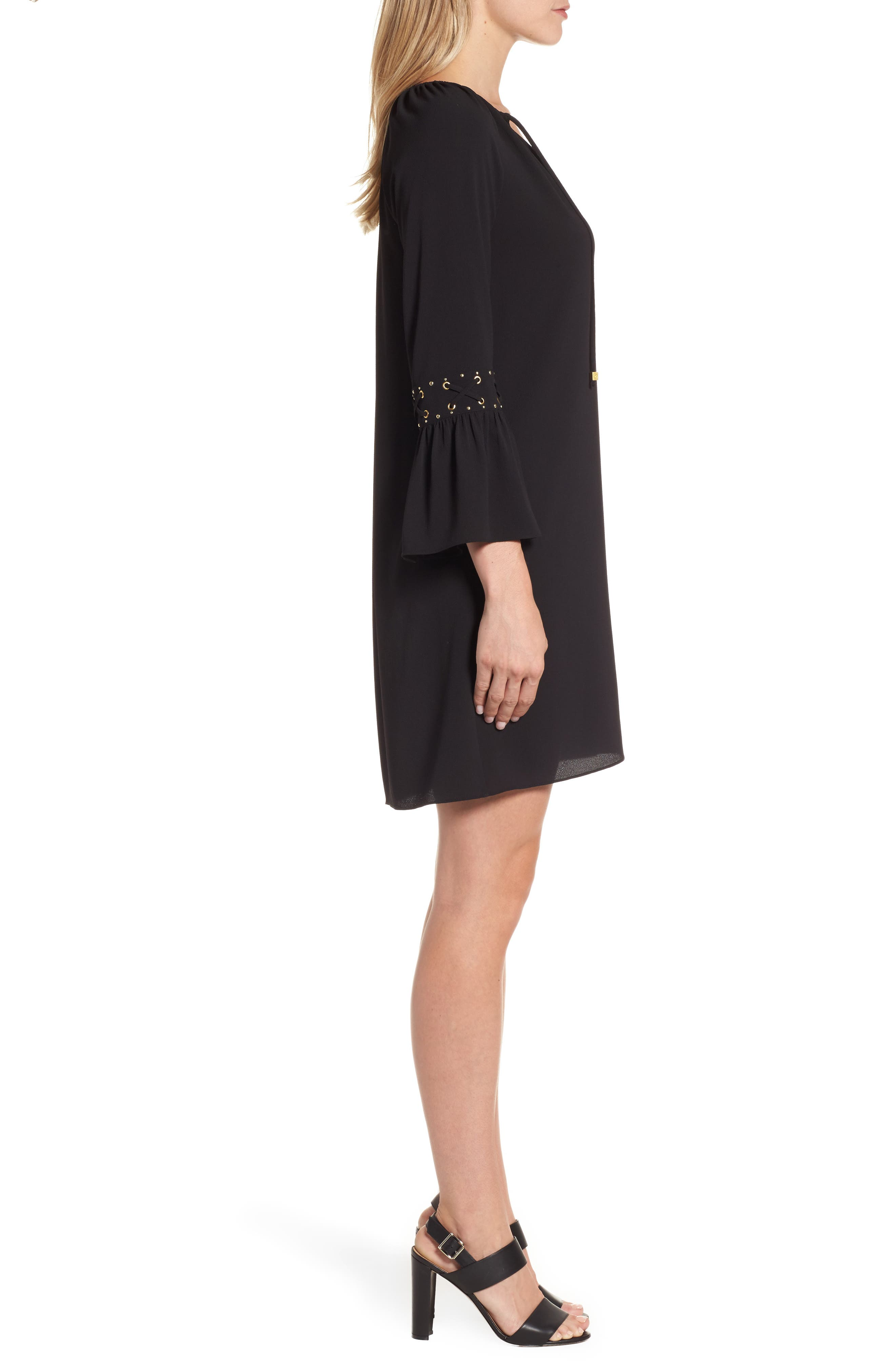 Lace-Up Sleeve Dress,                             Alternate thumbnail 3, color,                             001