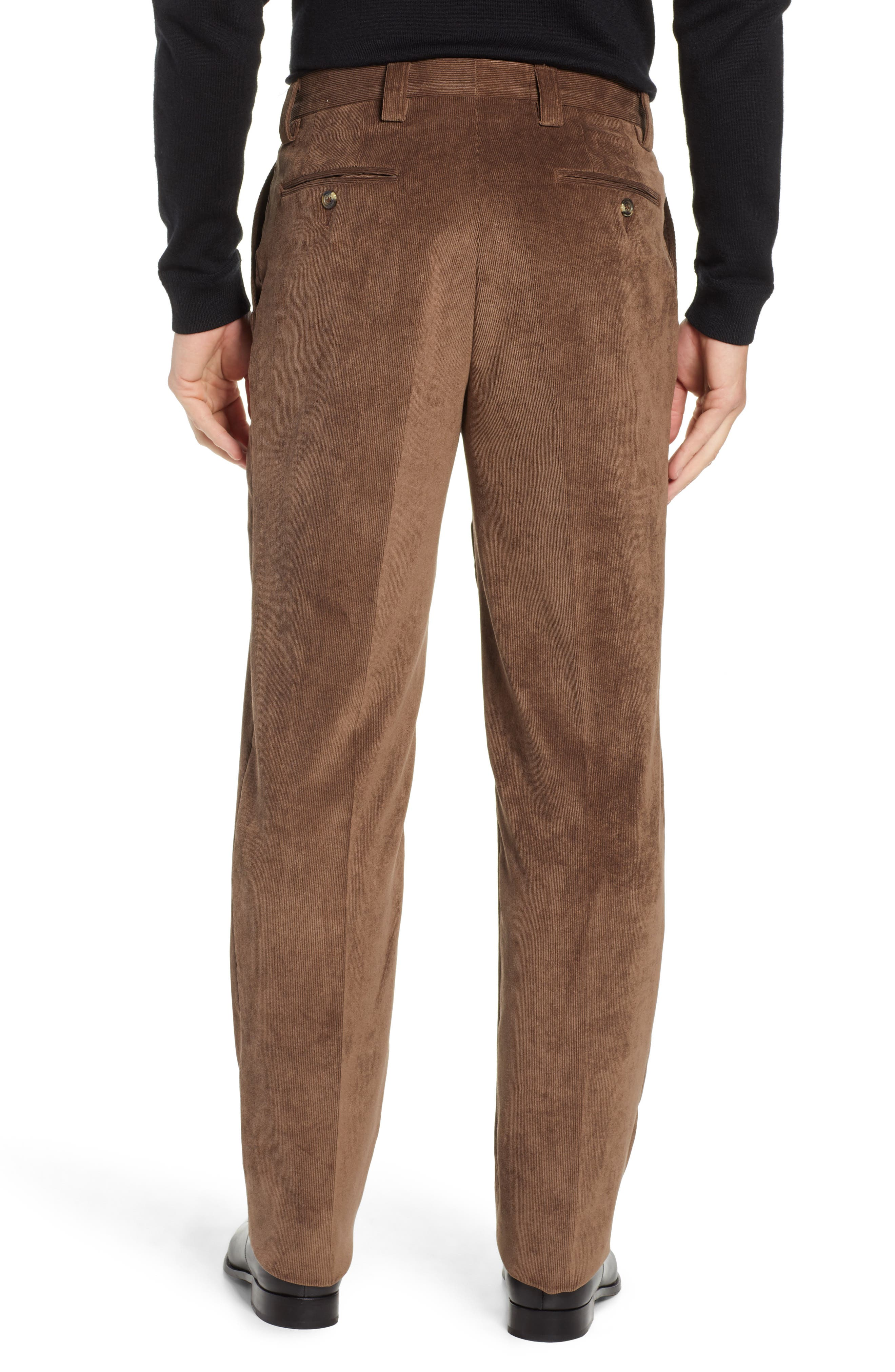 BERLE,                             Classic Fit Flat Front Corduroy Trousers,                             Alternate thumbnail 2, color,                             200