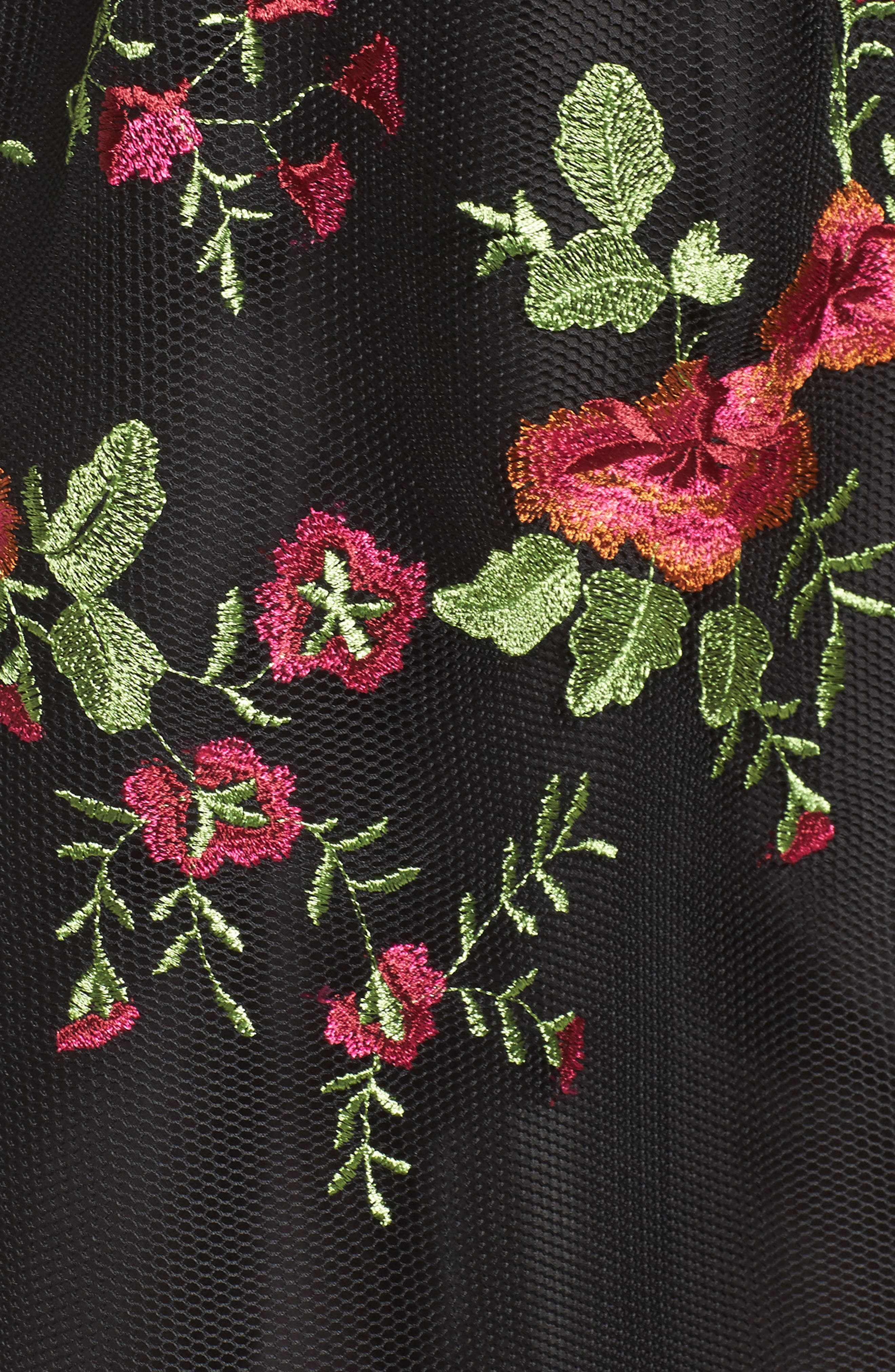 Embroidered Fit & Flare Dress,                             Alternate thumbnail 5, color,
