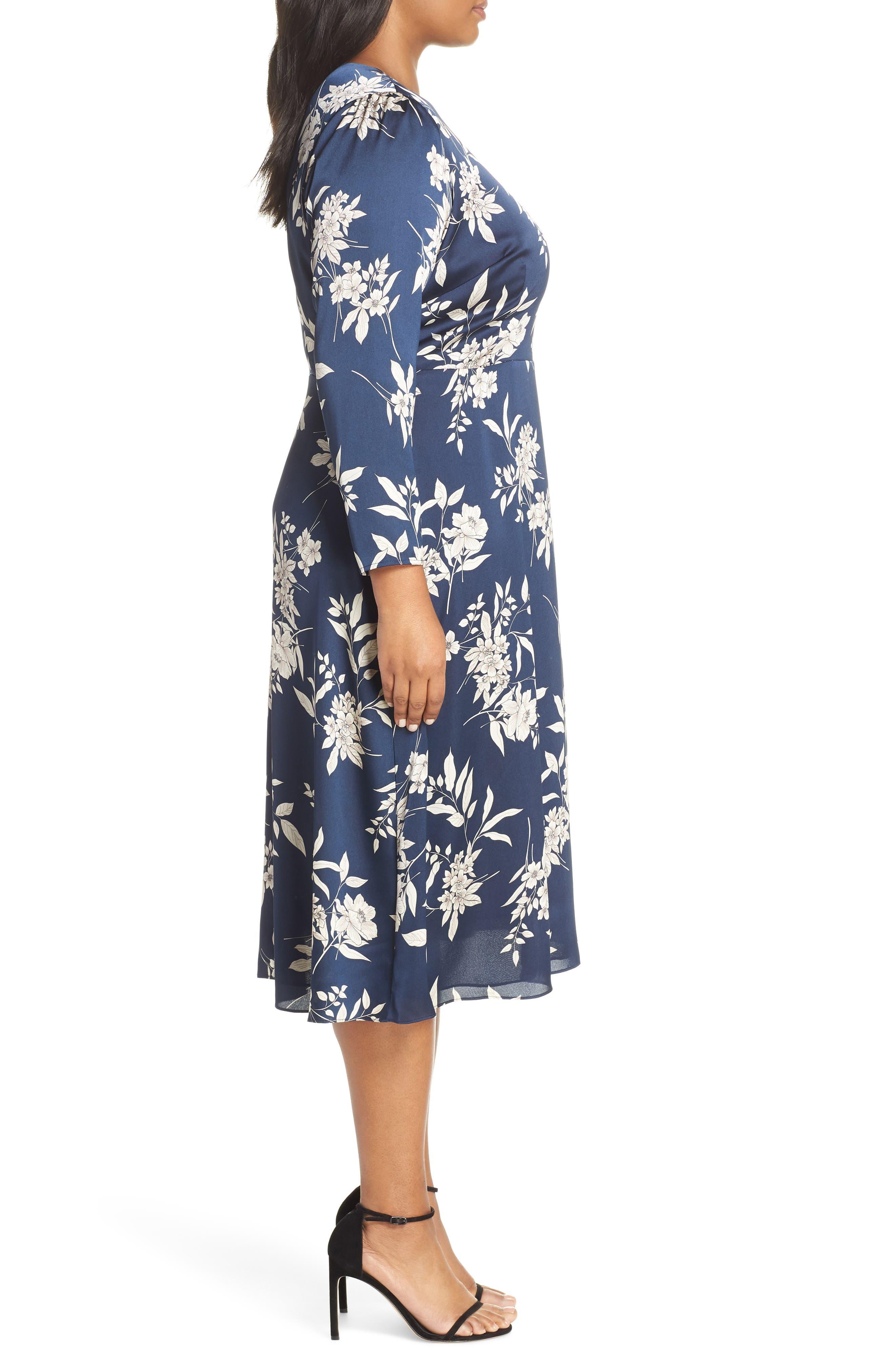 Etched Bouquet Midi Dress,                             Alternate thumbnail 3, color,                             INK BLUE