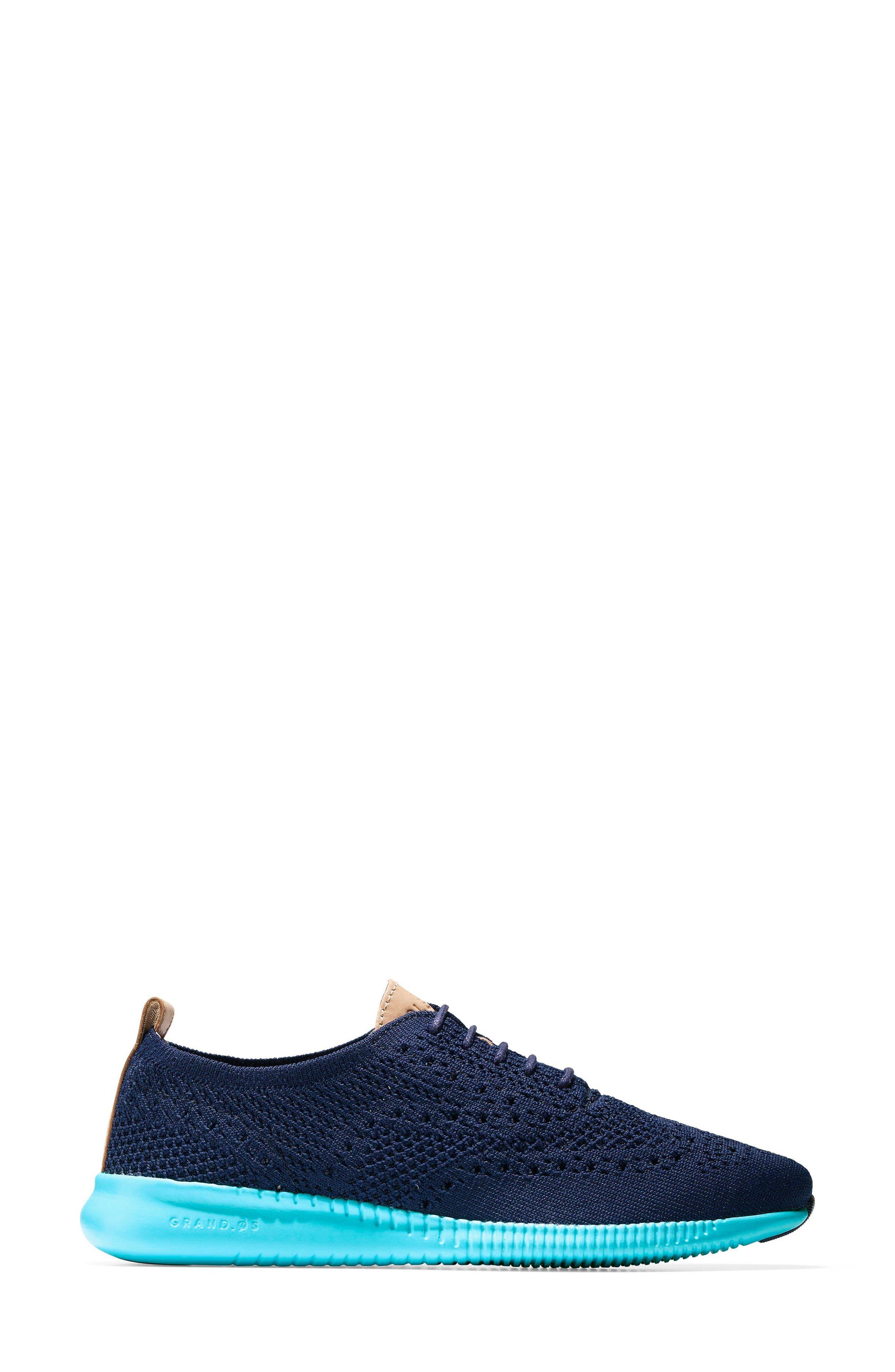 2.ZERØGRAND Stitchlite Wingtip Sneaker,                             Alternate thumbnail 3, color,                             MARINE BLUE/ BLUEFISH FABRIC