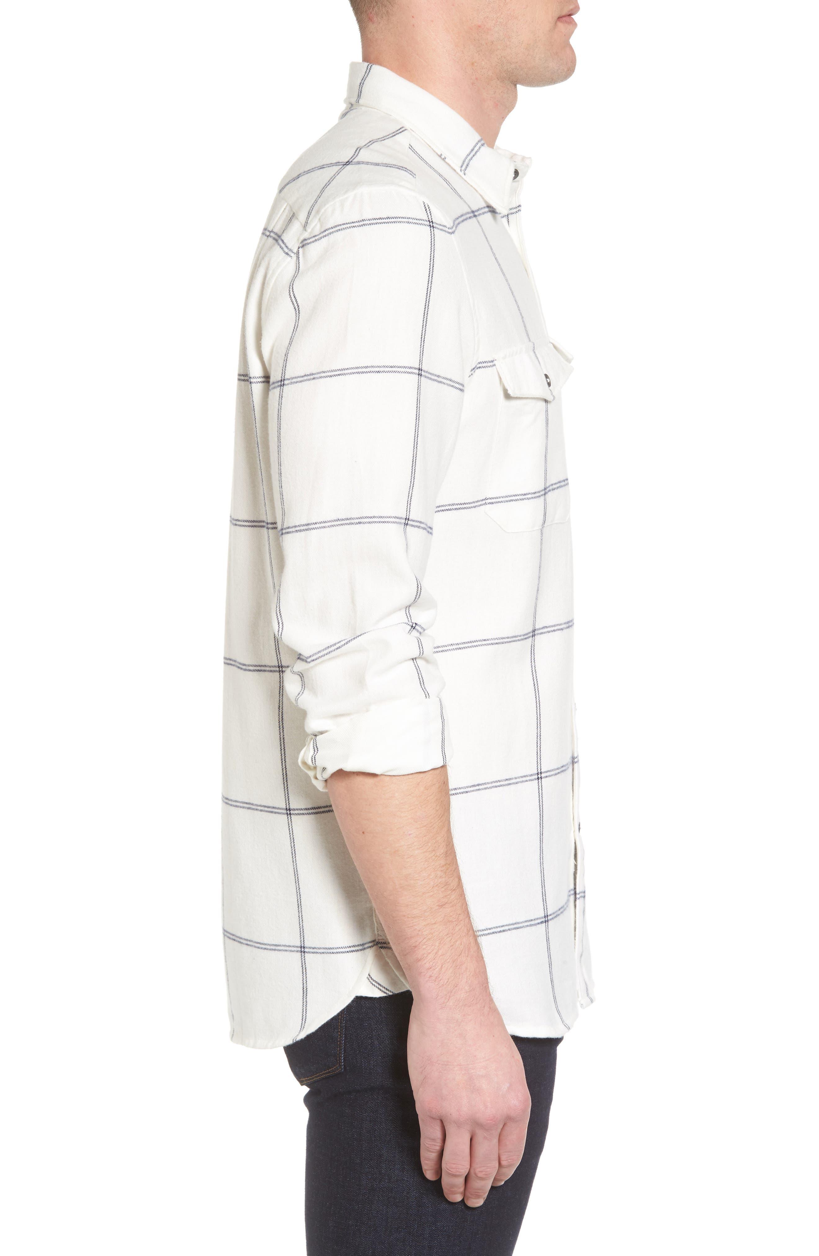 Regular Fit Windowpane Flannel Sport Shirt,                             Alternate thumbnail 3, color,                             900
