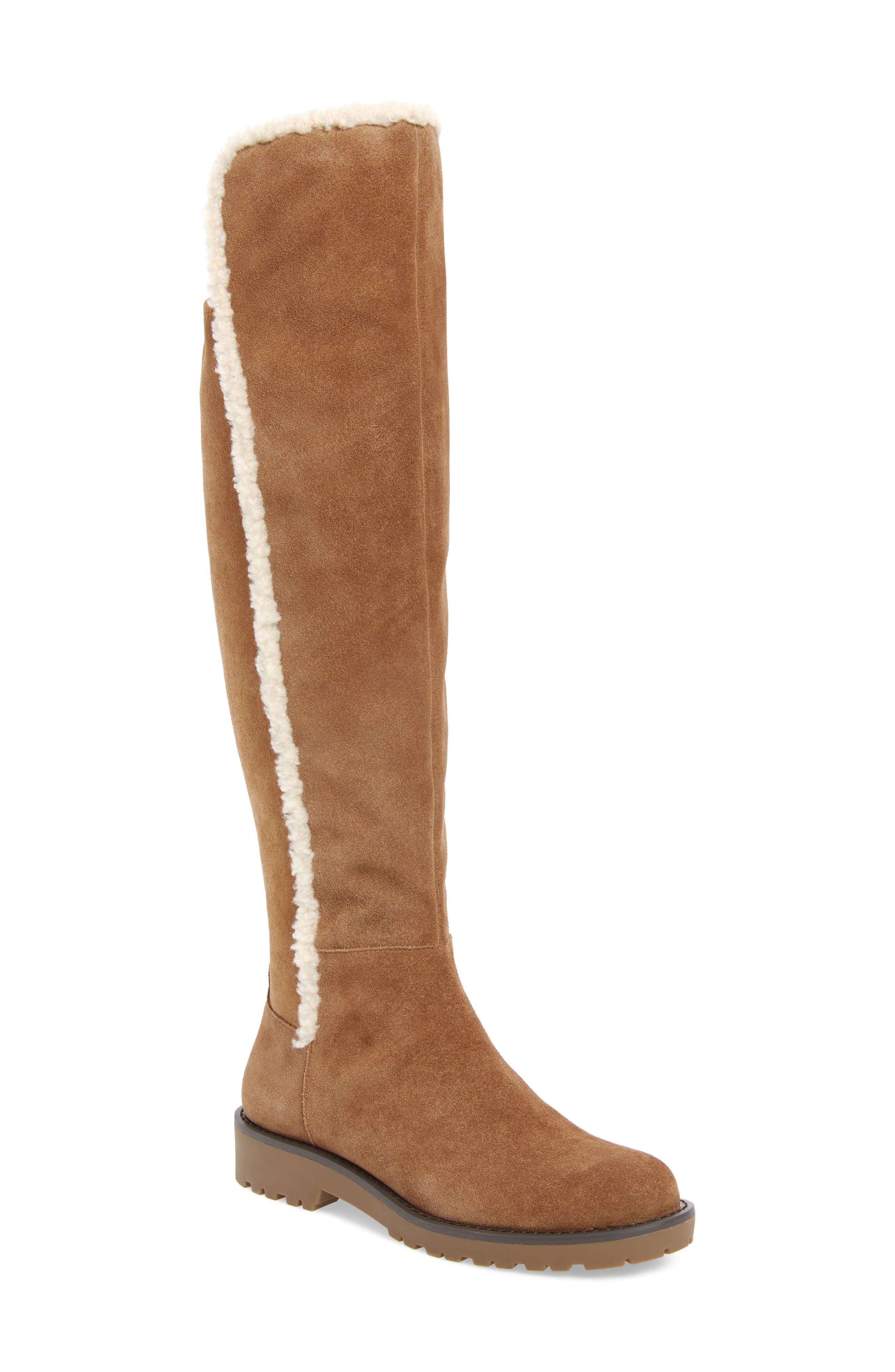 Juno Faux Shearling Trim Boot,                         Main,                         color, HONEY SUEDE