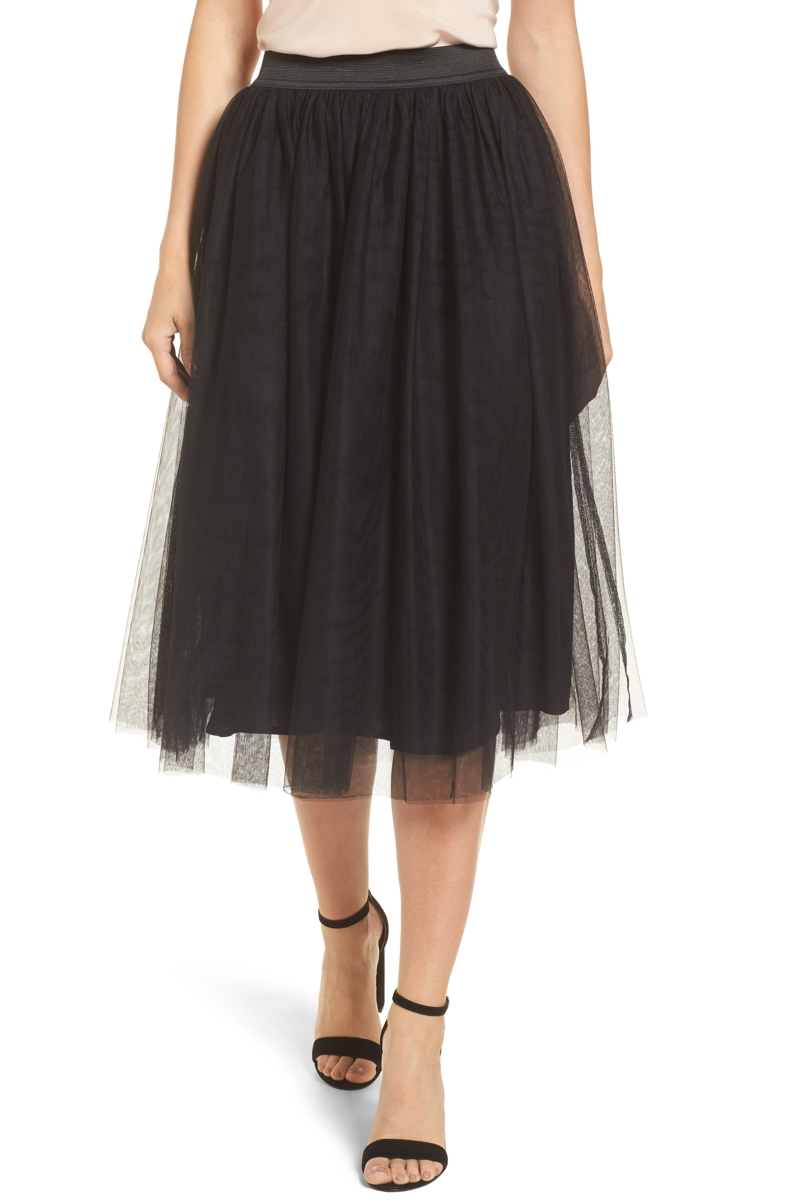 Tulle Midi Skirt,                         Main,                         color,
