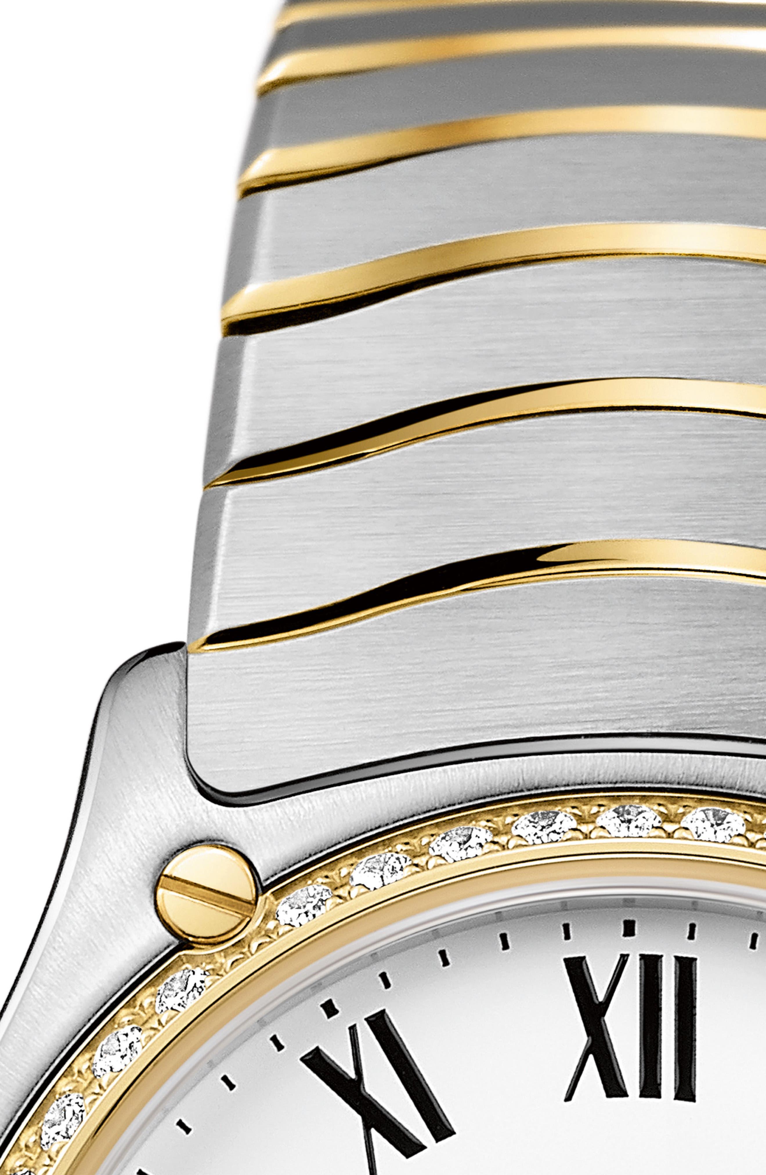Sport Classic Diamond Bracelet Watch, 29mm,                             Alternate thumbnail 5, color,                             SILVER/ WHITE/ GOLD