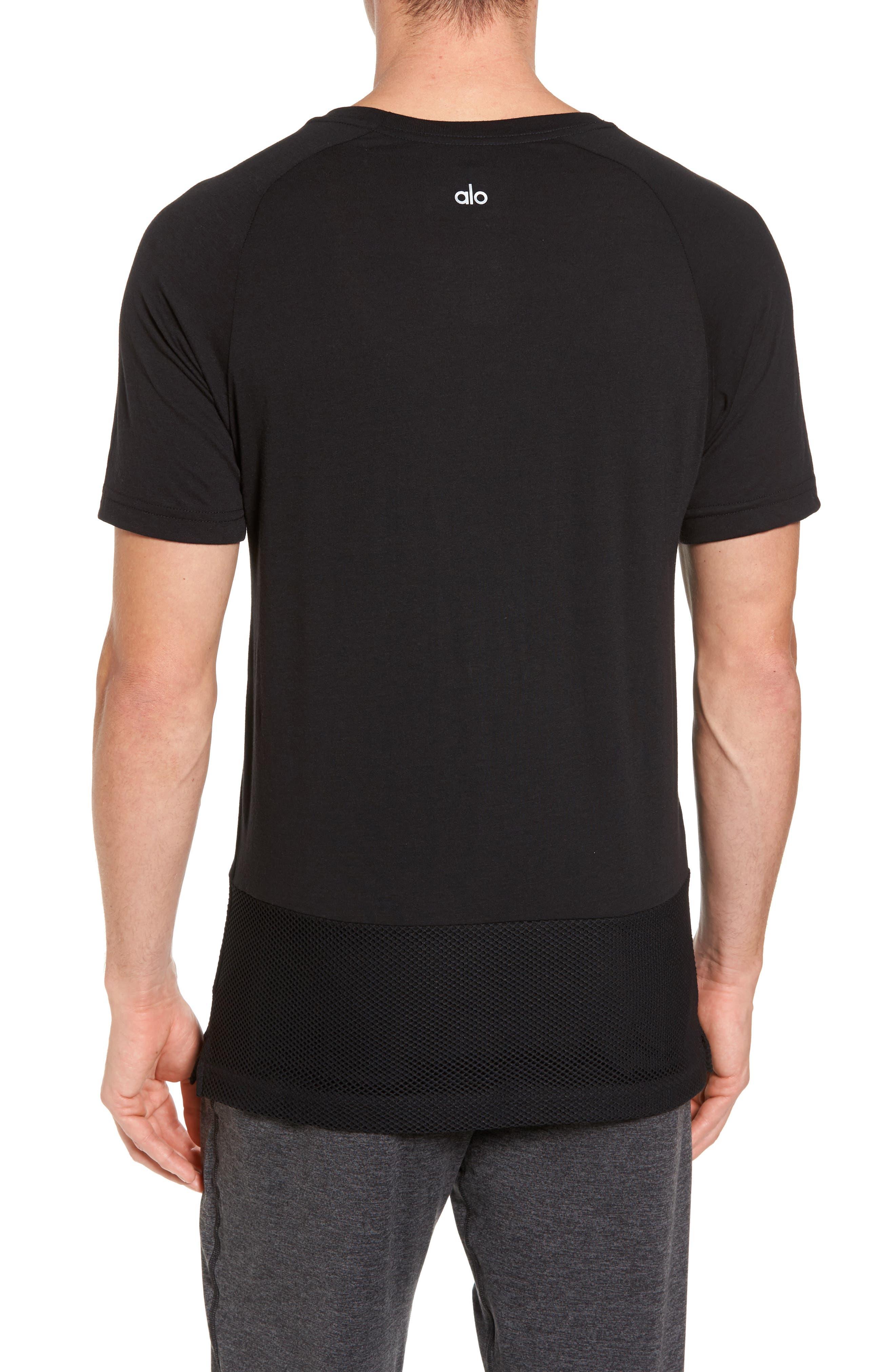 Darma Mesh Hemmed T-Shirt,                             Alternate thumbnail 2, color,                             BLACK