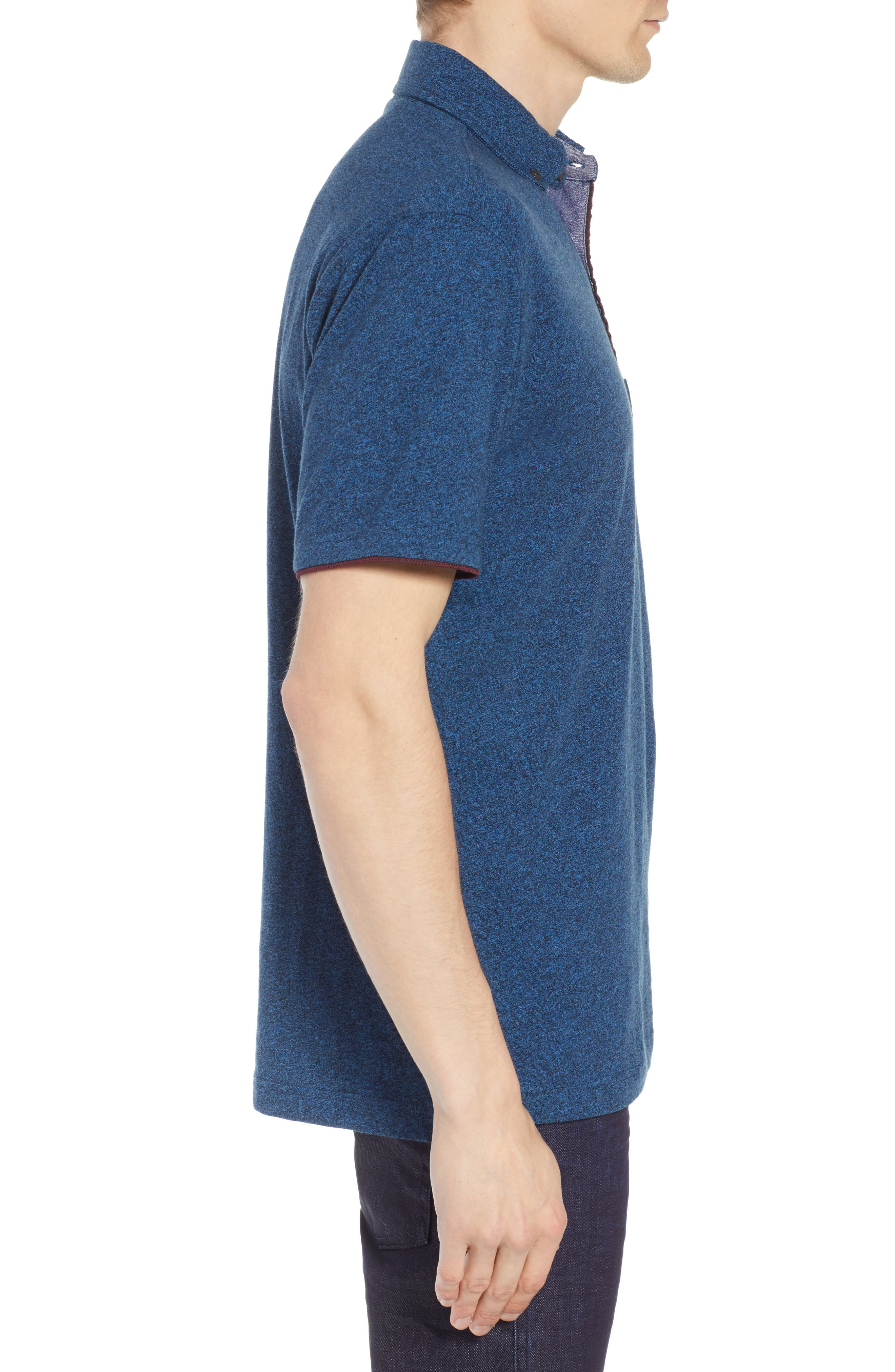Haast Pass Button Down Polo,                             Alternate thumbnail 3, color,                             NAVY
