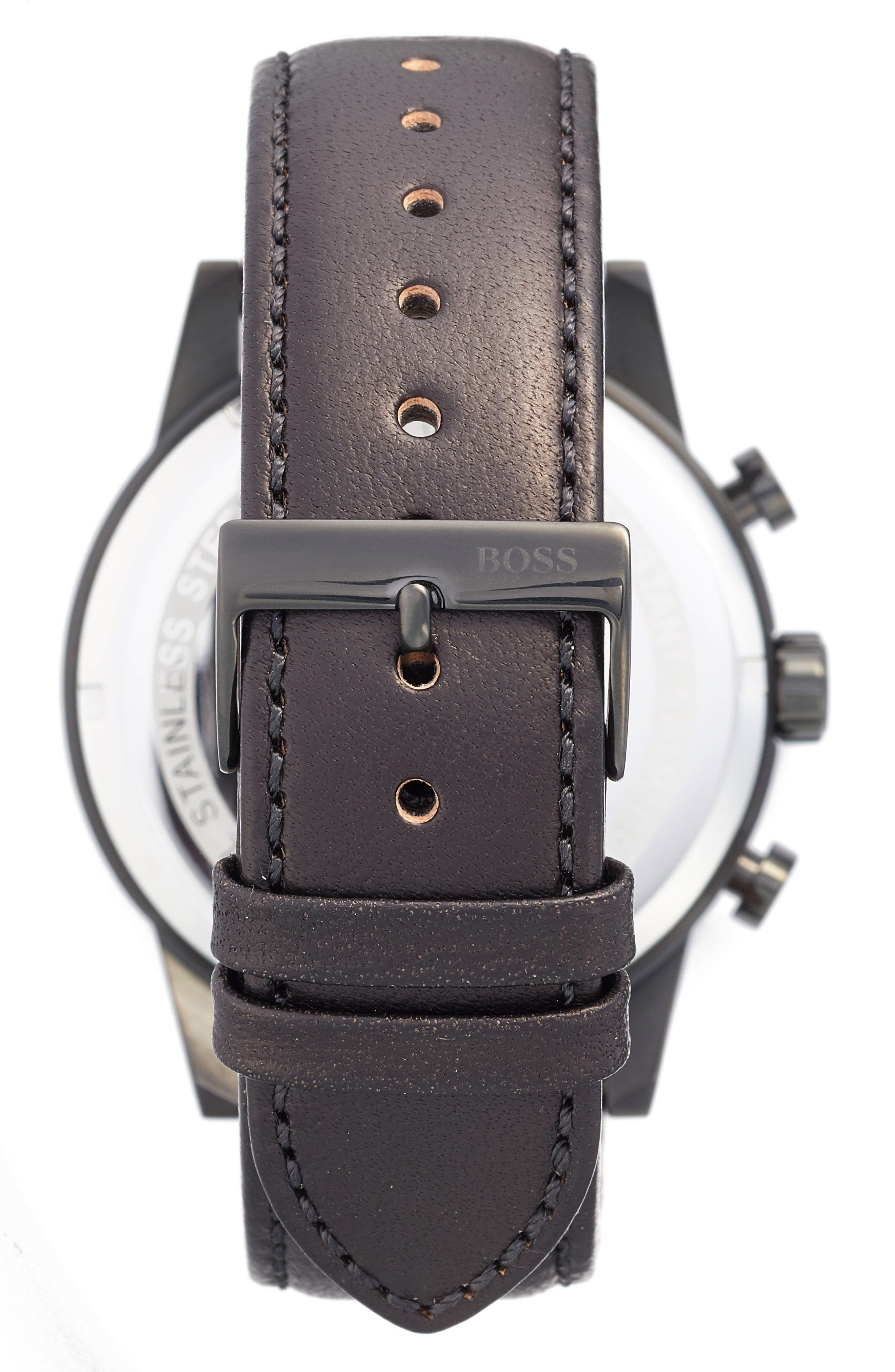 Chronograph Leather Strap Watch, 44mm,                             Alternate thumbnail 2, color,                             001