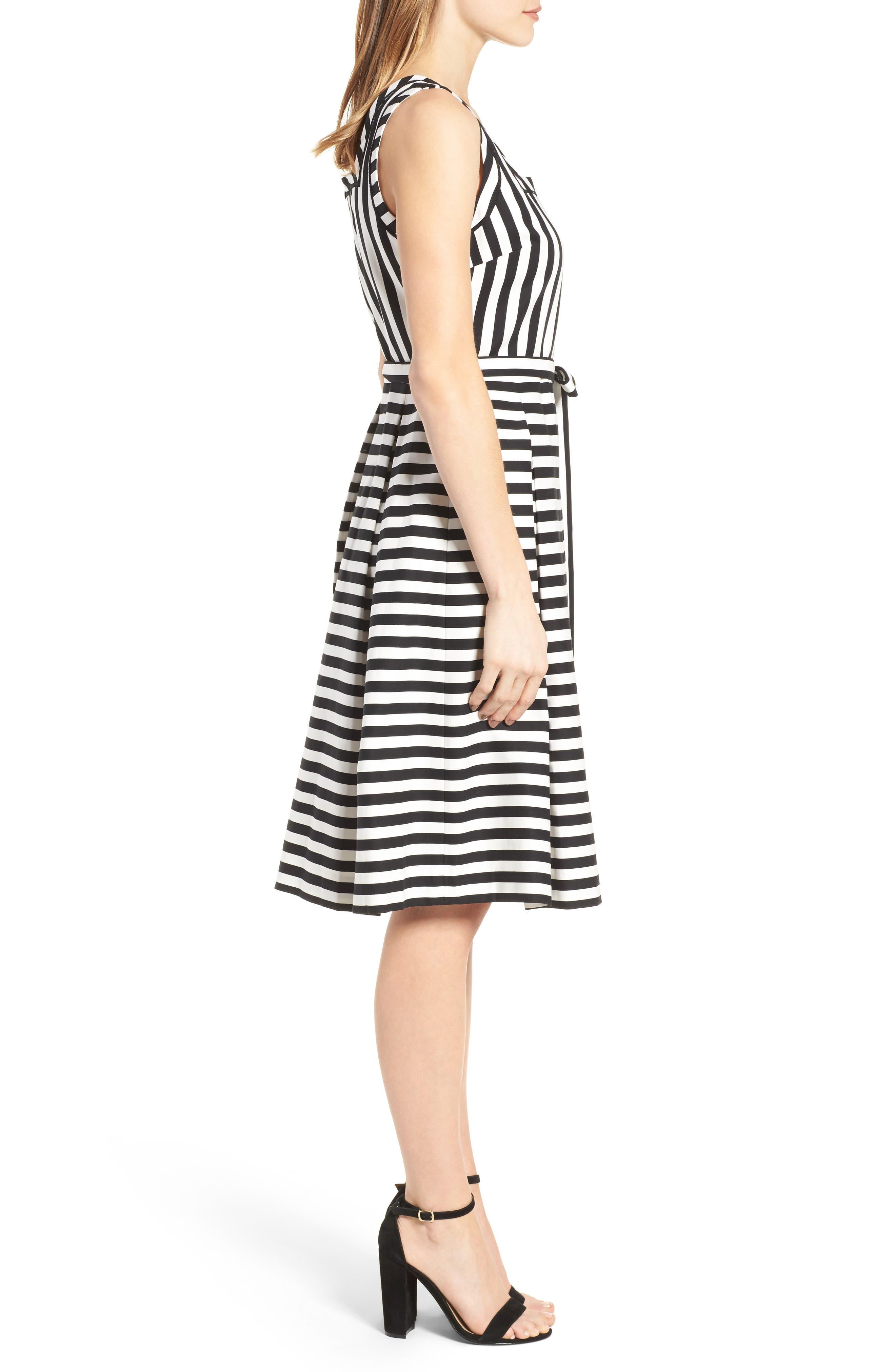 Stripe Fit & Flare Dress,                             Alternate thumbnail 3, color,                             100