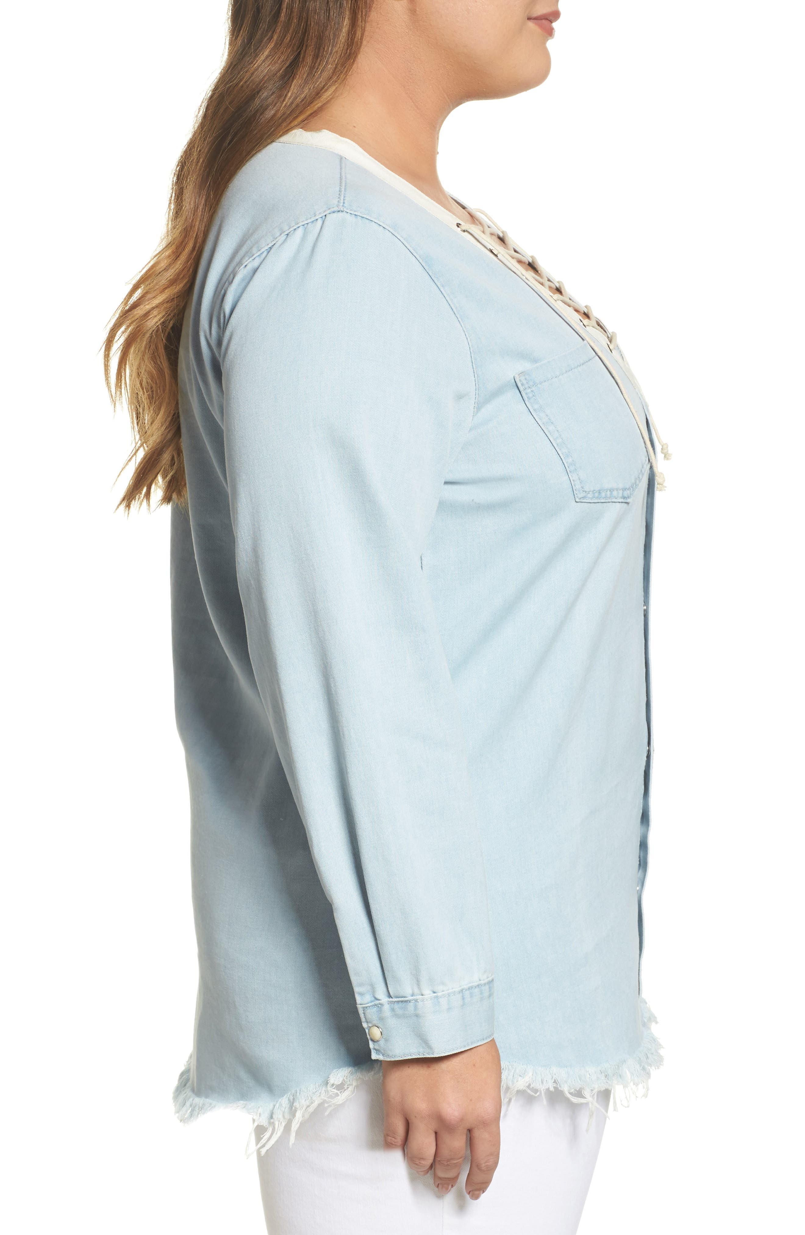 Lace-Up Chambray Top,                             Alternate thumbnail 3, color,                             400