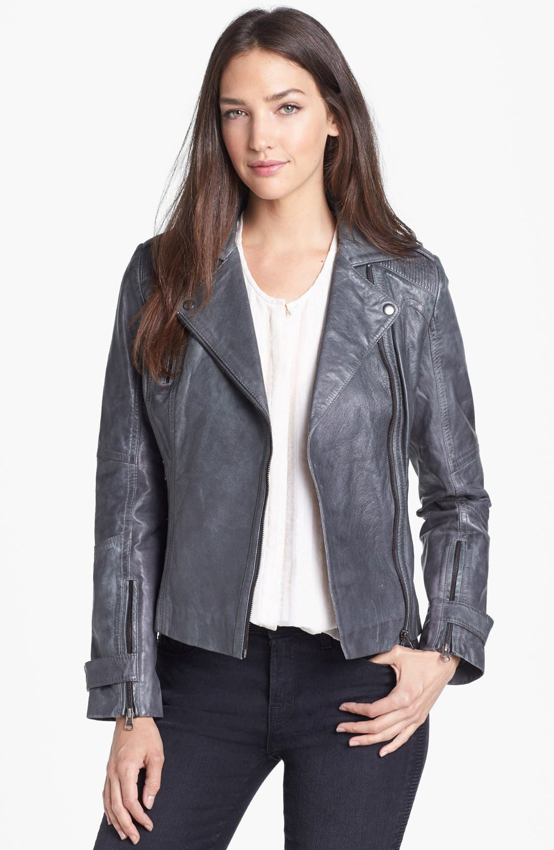 Asymmetrical Leather Moto Jacket,                             Main thumbnail 1, color,                             020