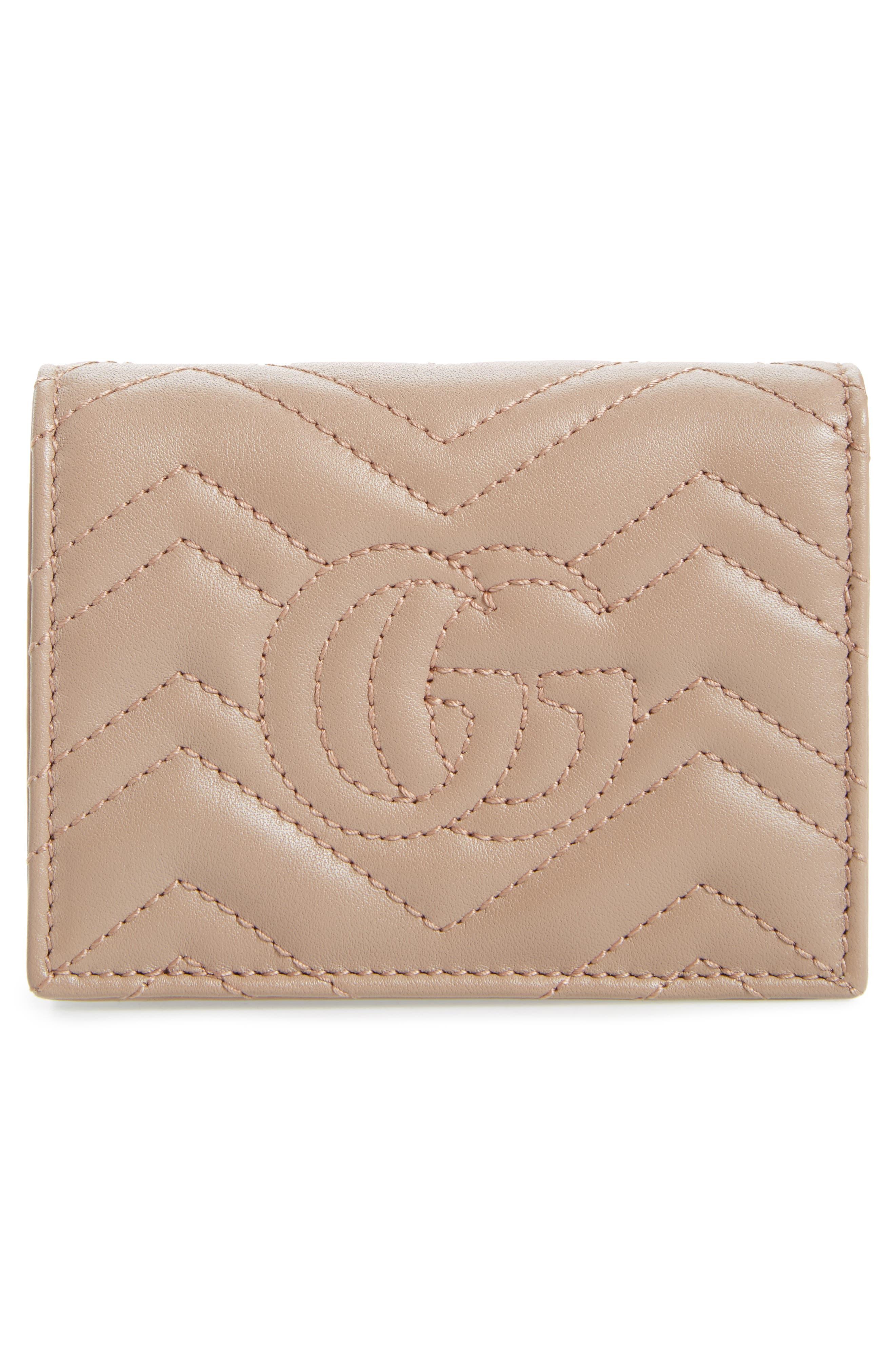 GG Marmont Matelassé Leather Card Case,                             Alternate thumbnail 4, color,                             PORCELAIN ROSE