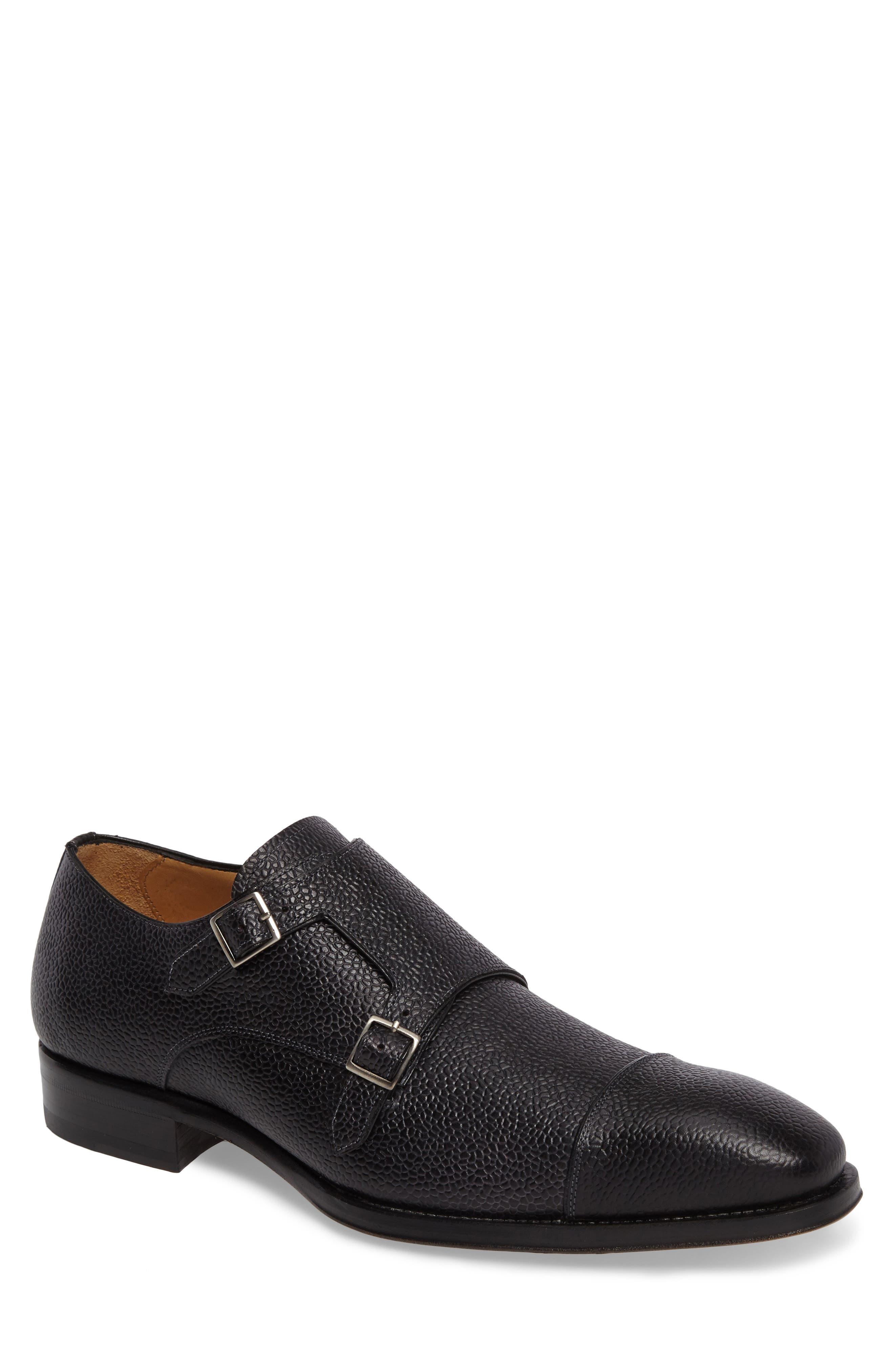 Lubrin Double Monk Strap Shoe,                         Main,                         color, BLACK LEATHER