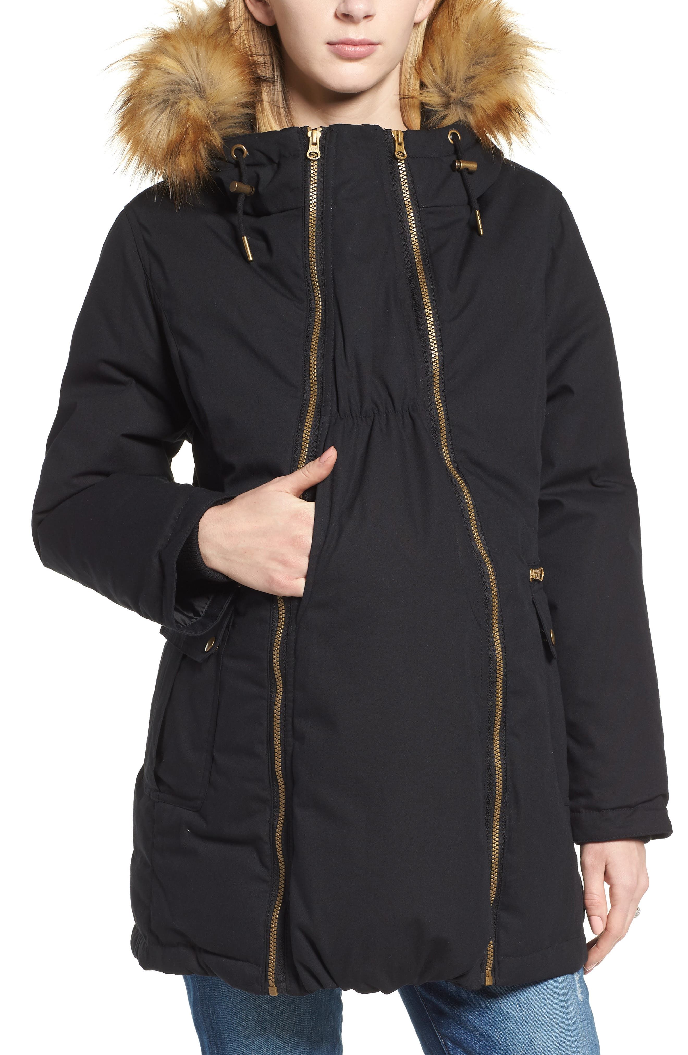 Convertible Down 3-in-1 Maternity Jacket,                             Alternate thumbnail 2, color,                             BLACK