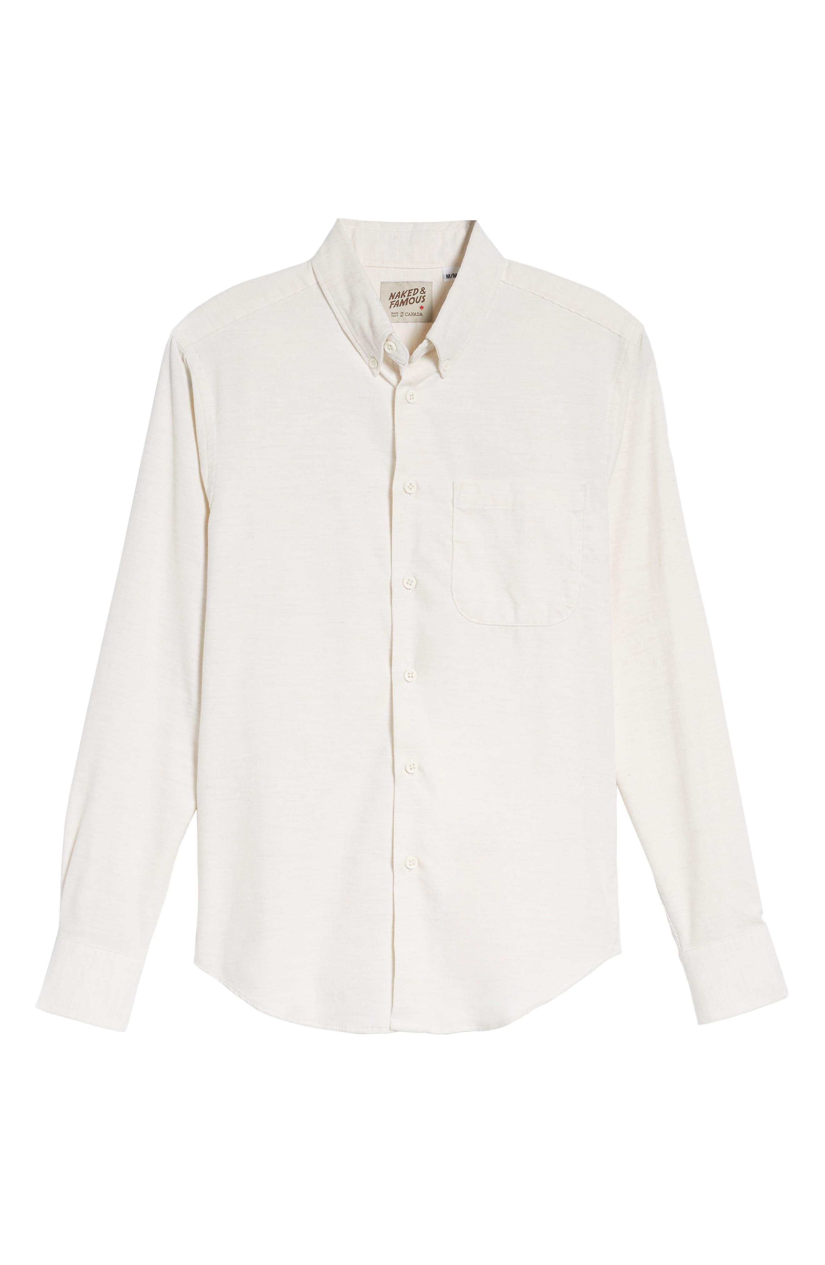 Corduroy Button Down Shirt,                             Alternate thumbnail 6, color,                             100