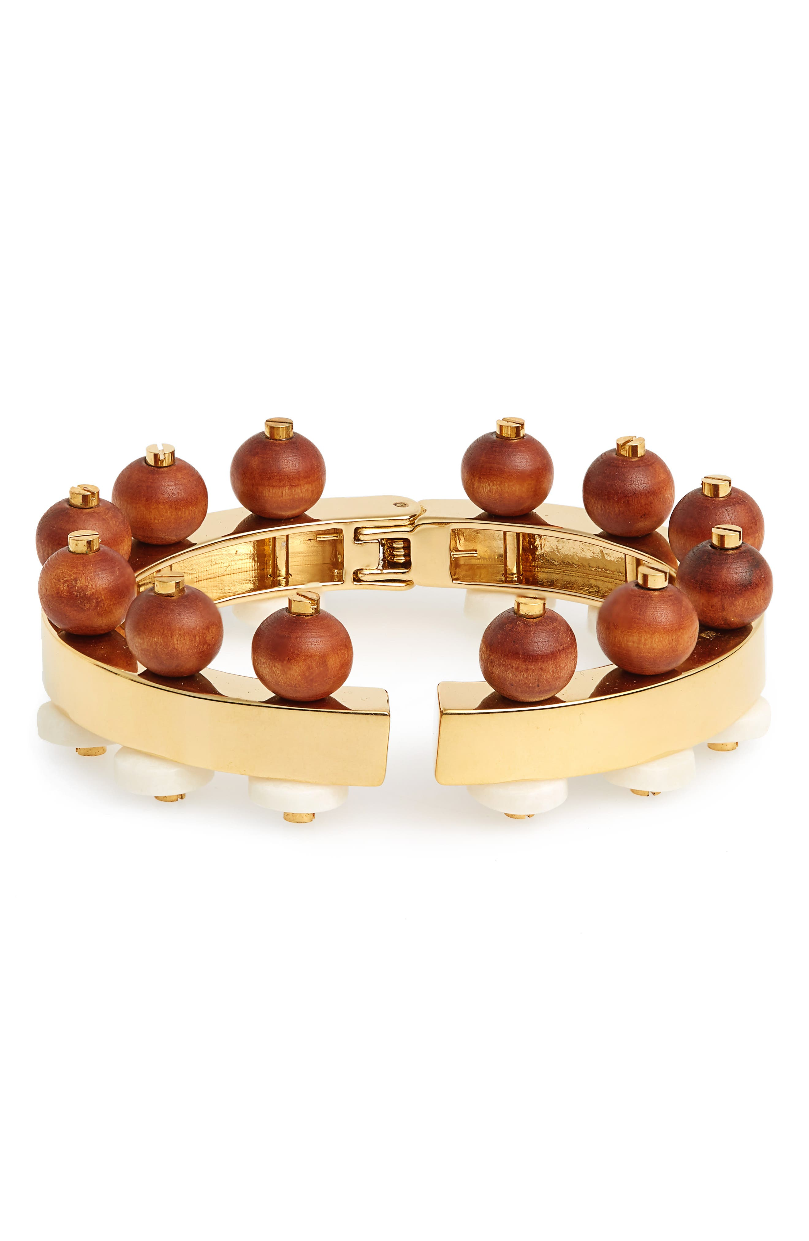 LELE SADOUGHI Wood Bead Hinge Bracelet, Main, color, 710