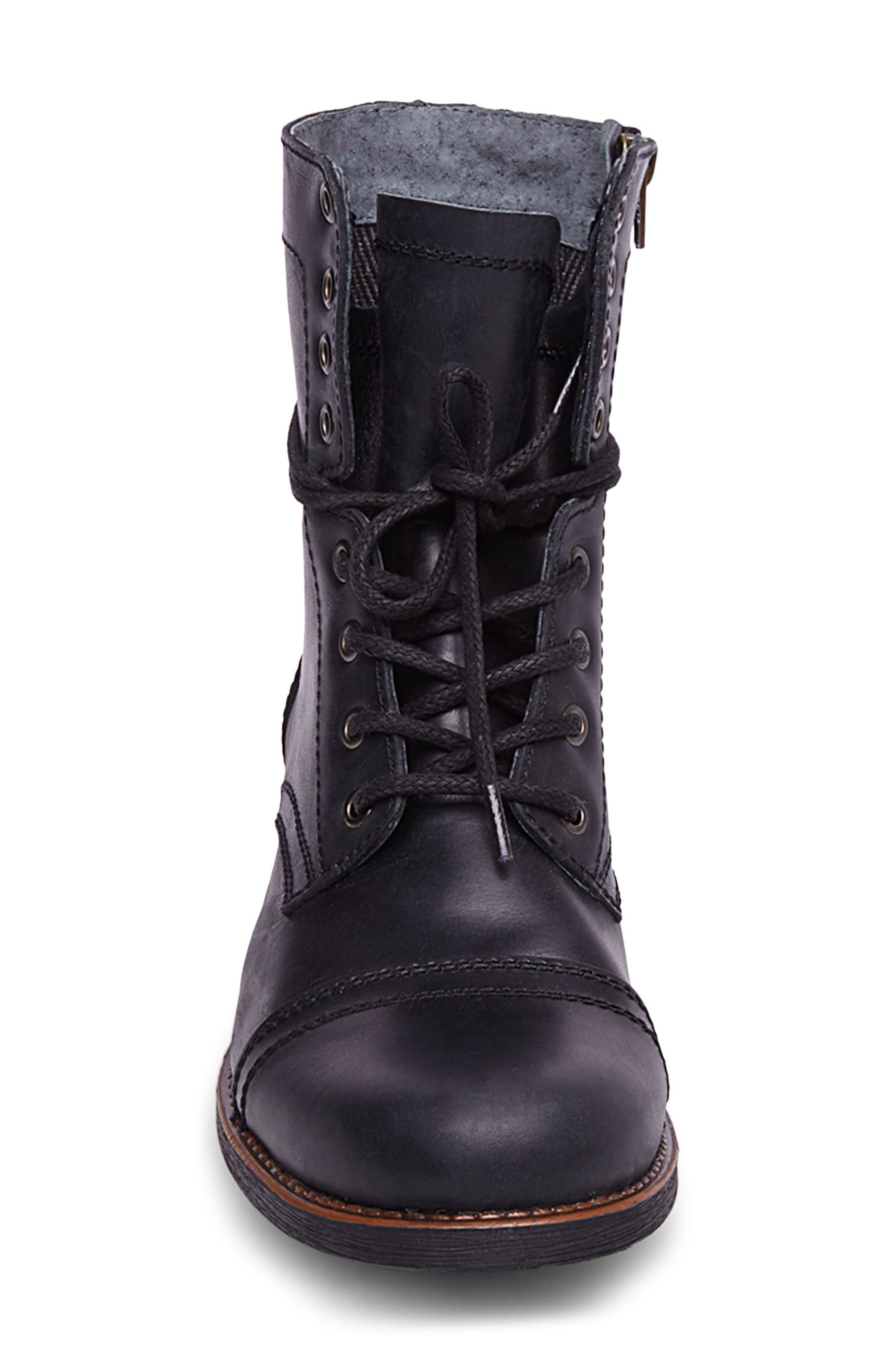 Troopah-C Cap Toe Boot,                             Alternate thumbnail 4, color,                             BLACK LEATHER