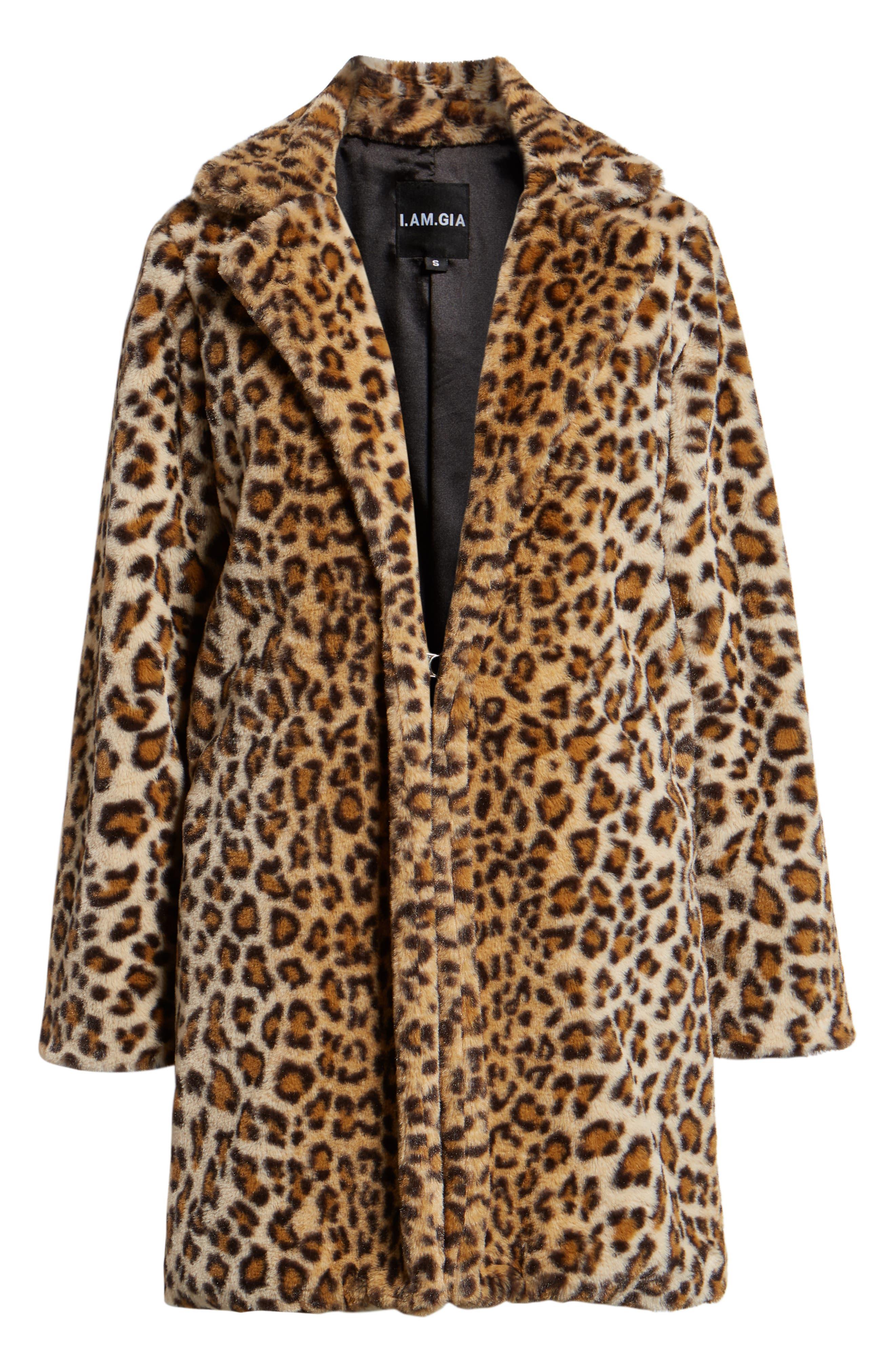Stefani Leopard Print Faux Fur Coat,                             Alternate thumbnail 6, color,                             200