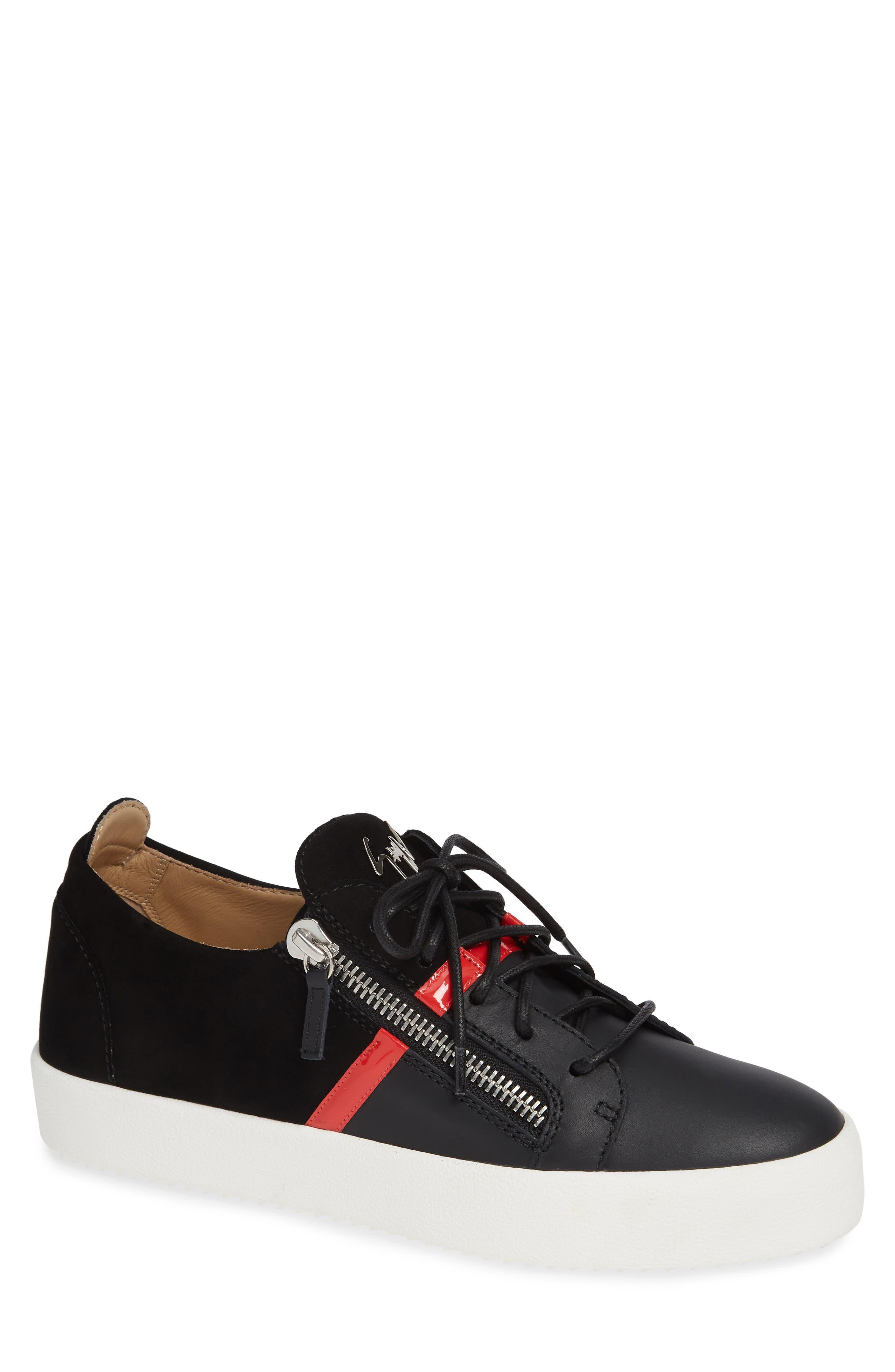 Low Top Stripe Sneaker, Main, color, BLACK