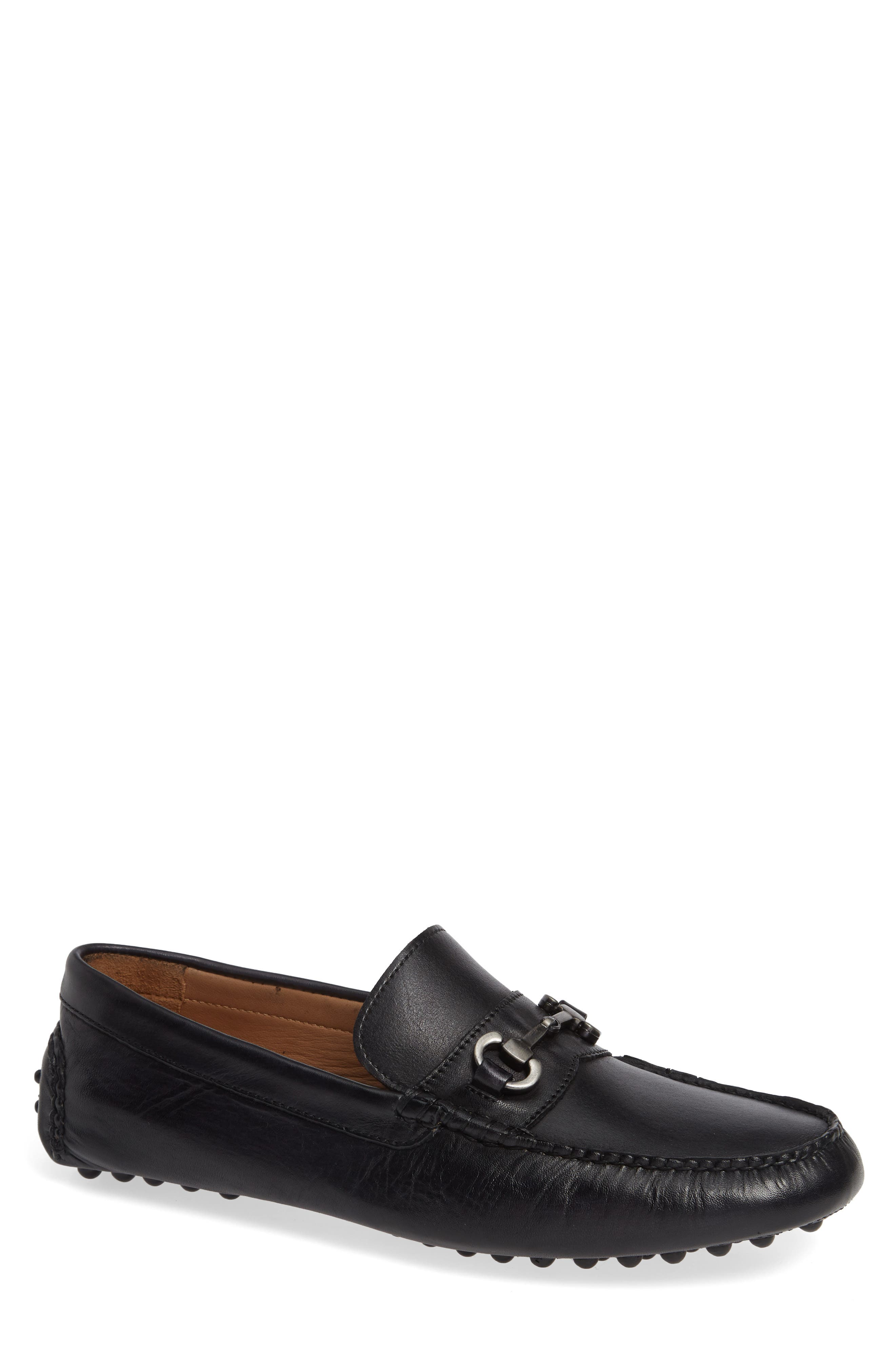 NORDSTROM MEN'S SHOP Anthony Driving Shoe, Main, color, BLACK LEATHER