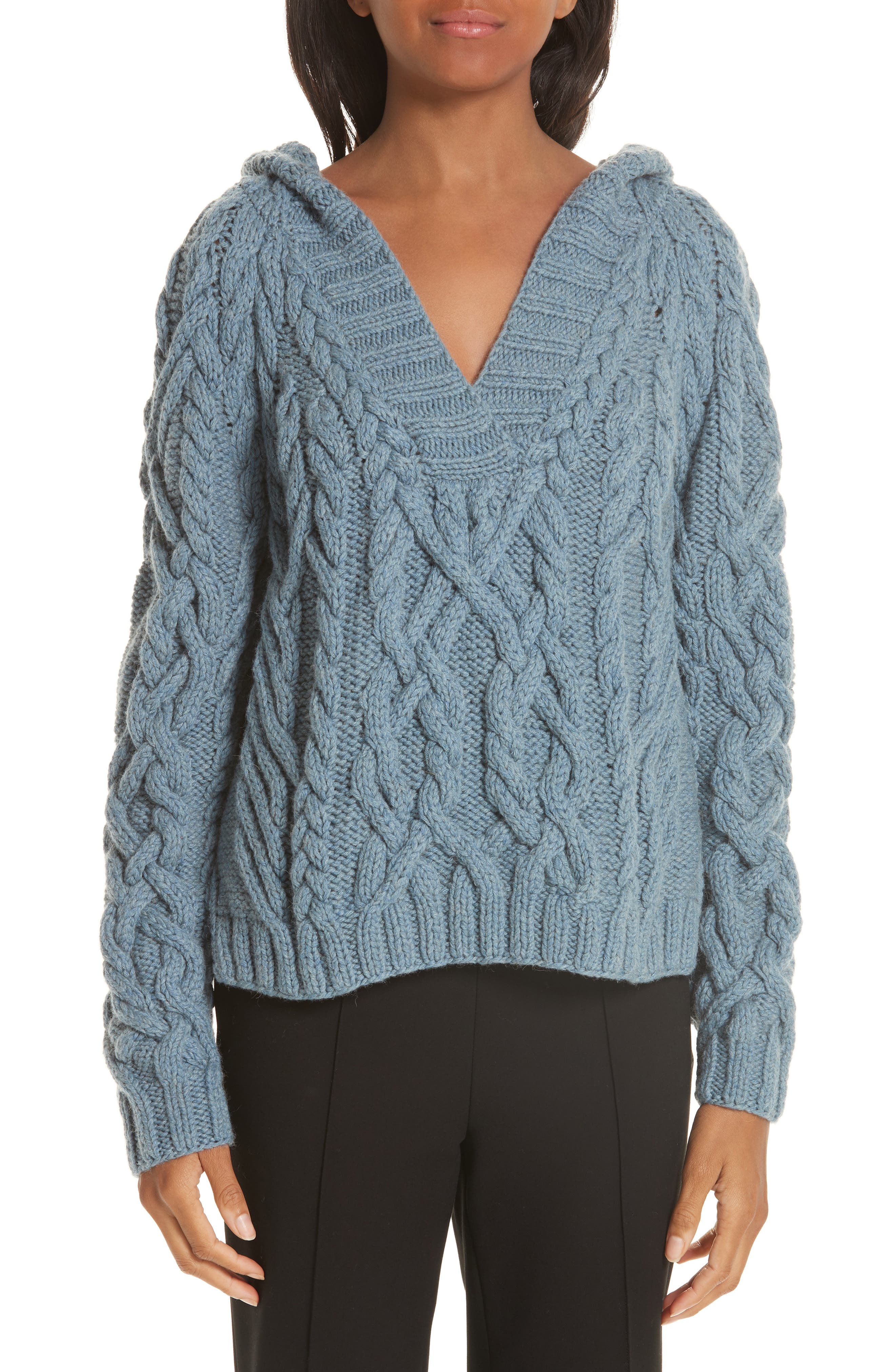 PARTOW Melange Cable Knit Hooded Sweater in Blue