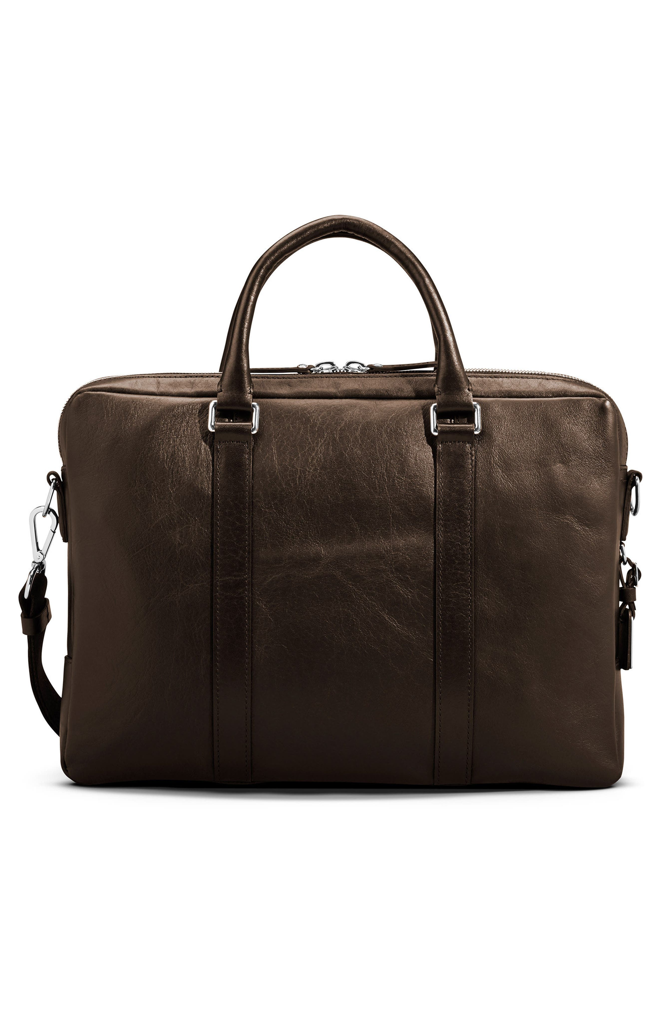 Signature Leather Computer Briefcase,                             Alternate thumbnail 2, color,                             DEEP BROWN