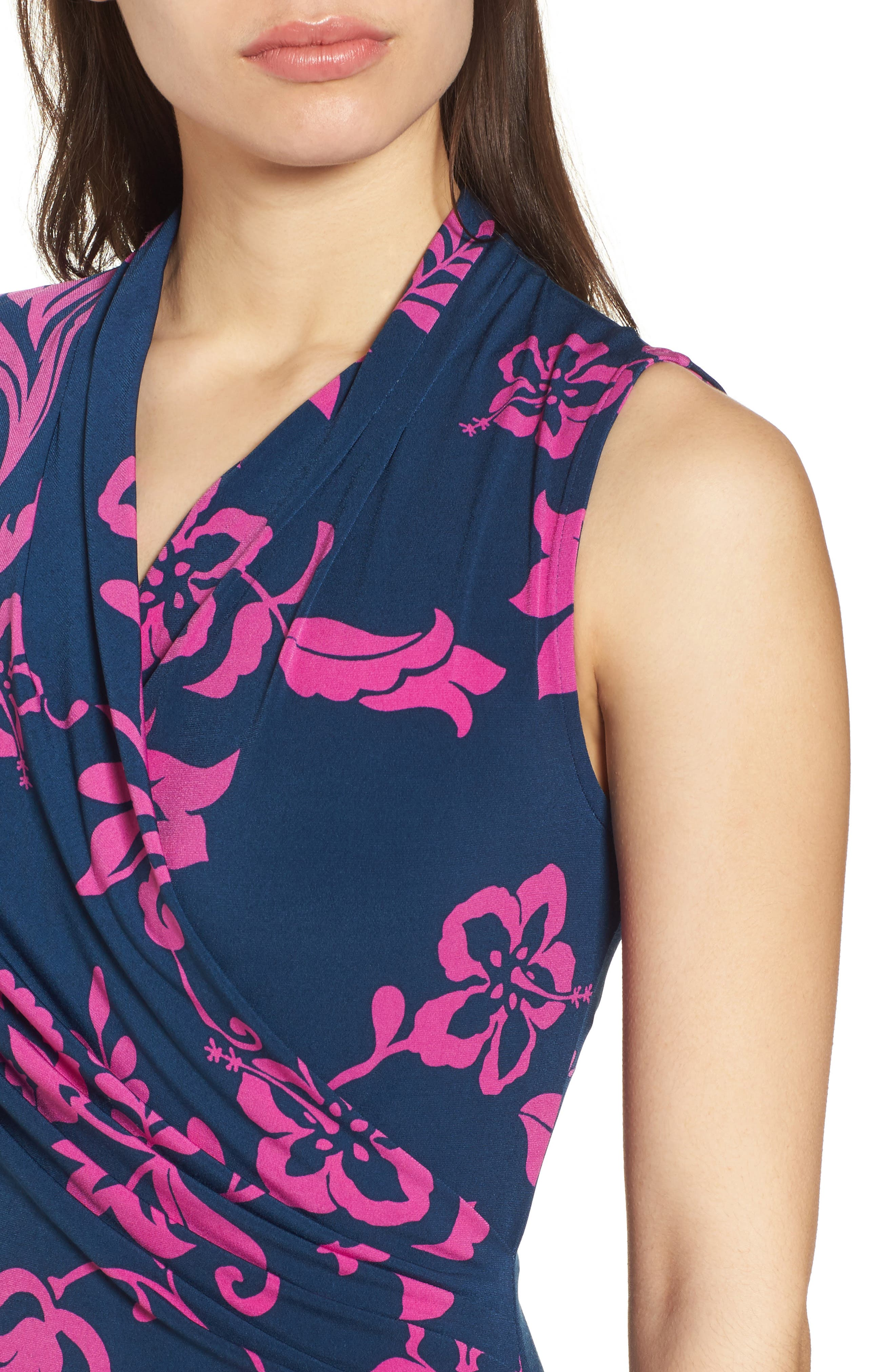 San Lucia Faux Wrap Midi Dress,                             Alternate thumbnail 4, color,                             OCEAN DEEP