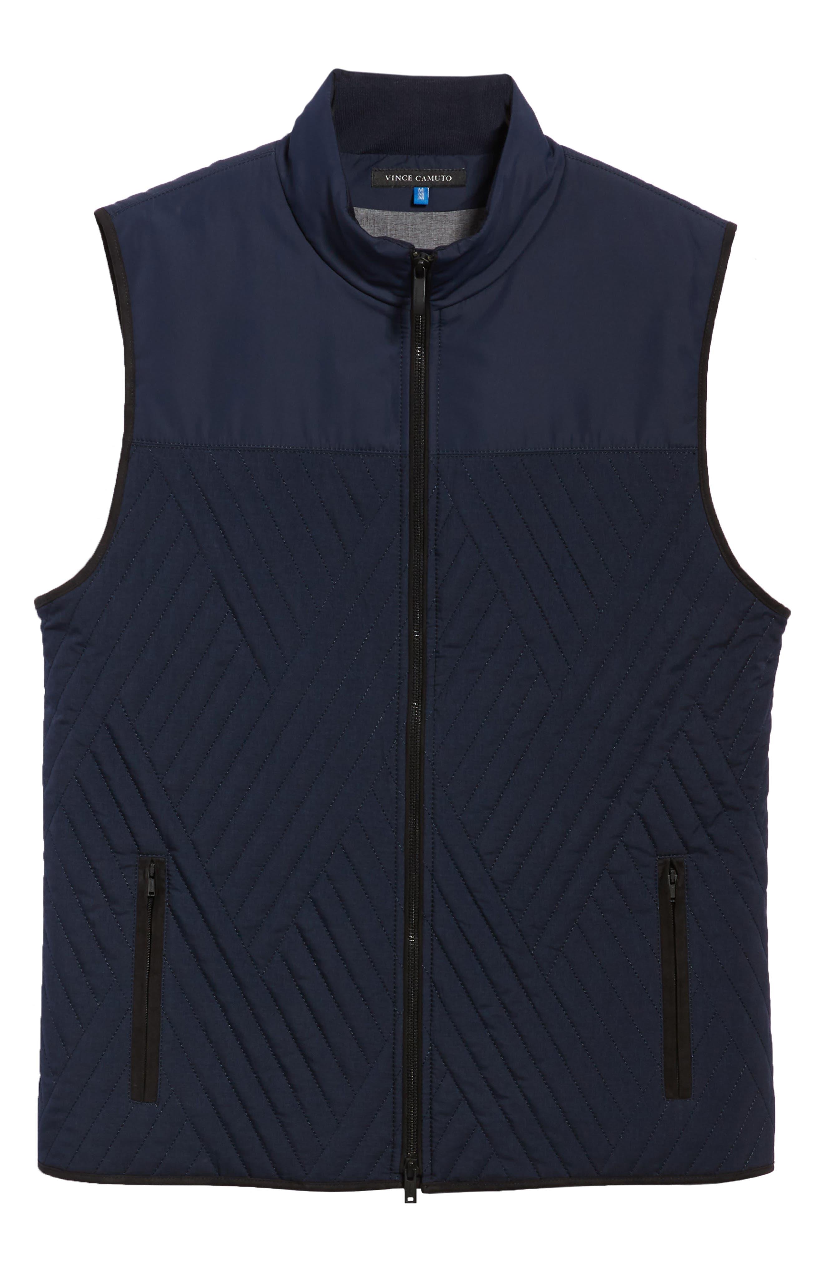 Slim Fit Quilted Vest,                             Alternate thumbnail 5, color,                             NAVY