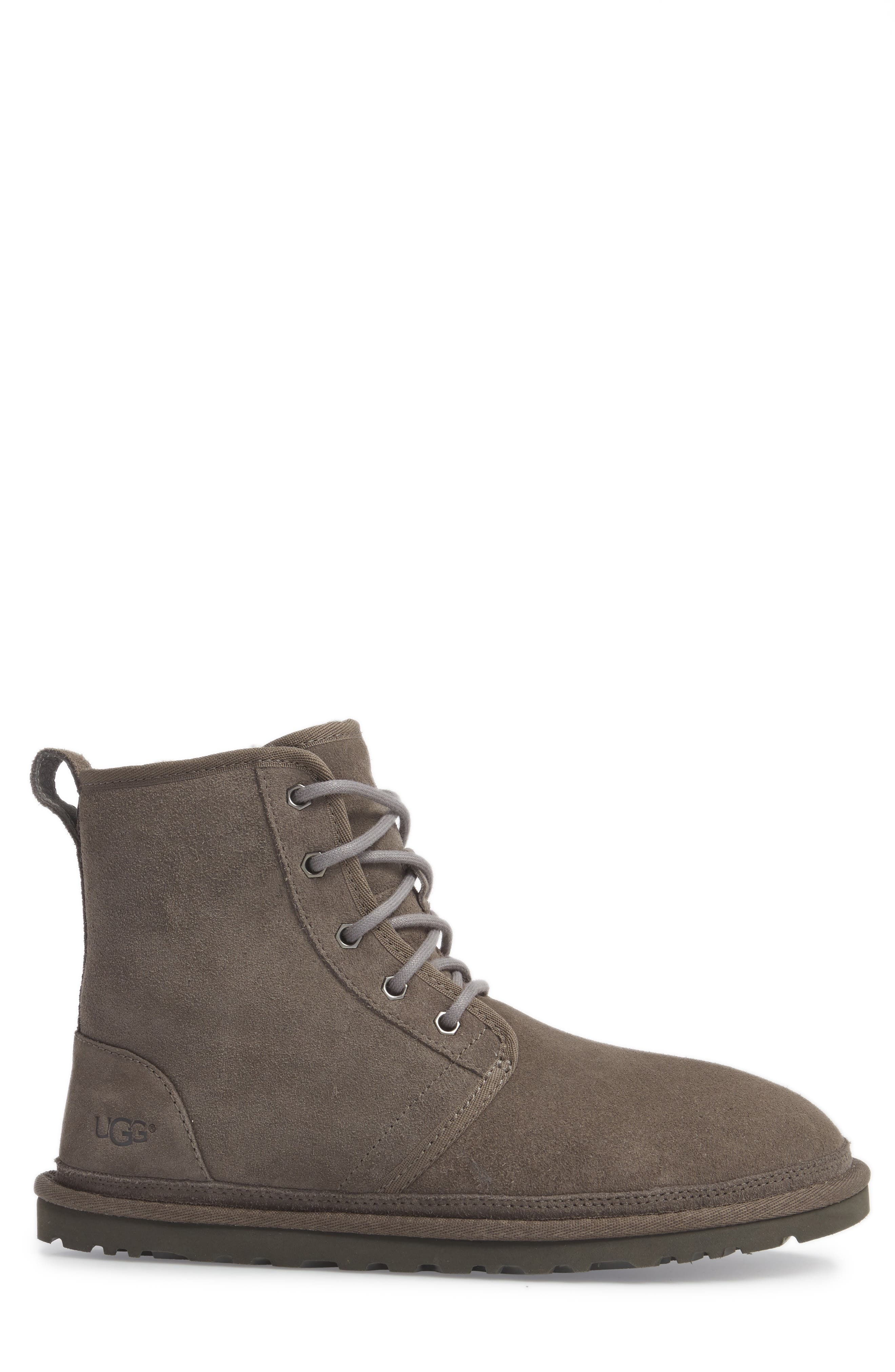 Harkley Lace-Up Boot,                             Alternate thumbnail 3, color,                             CHARCOAL SUEDE