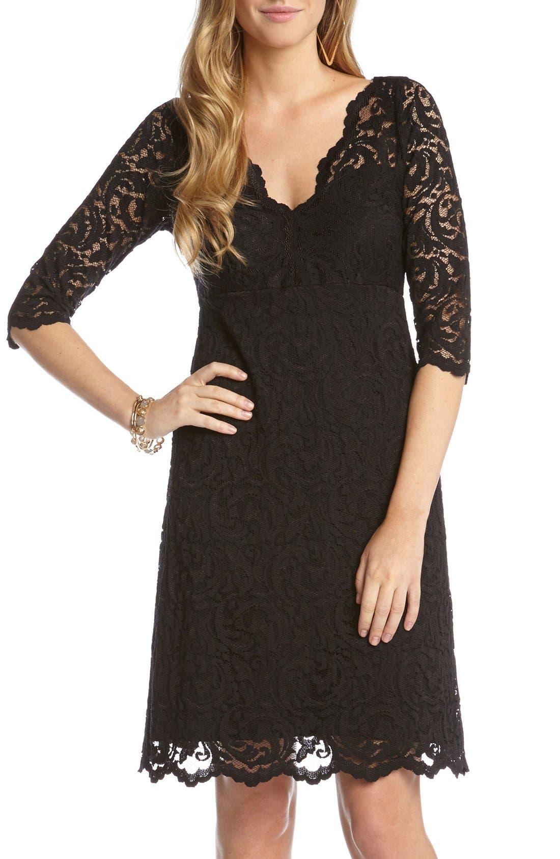 Scalloped Lace V-Neck Dress,                             Main thumbnail 1, color,                             001