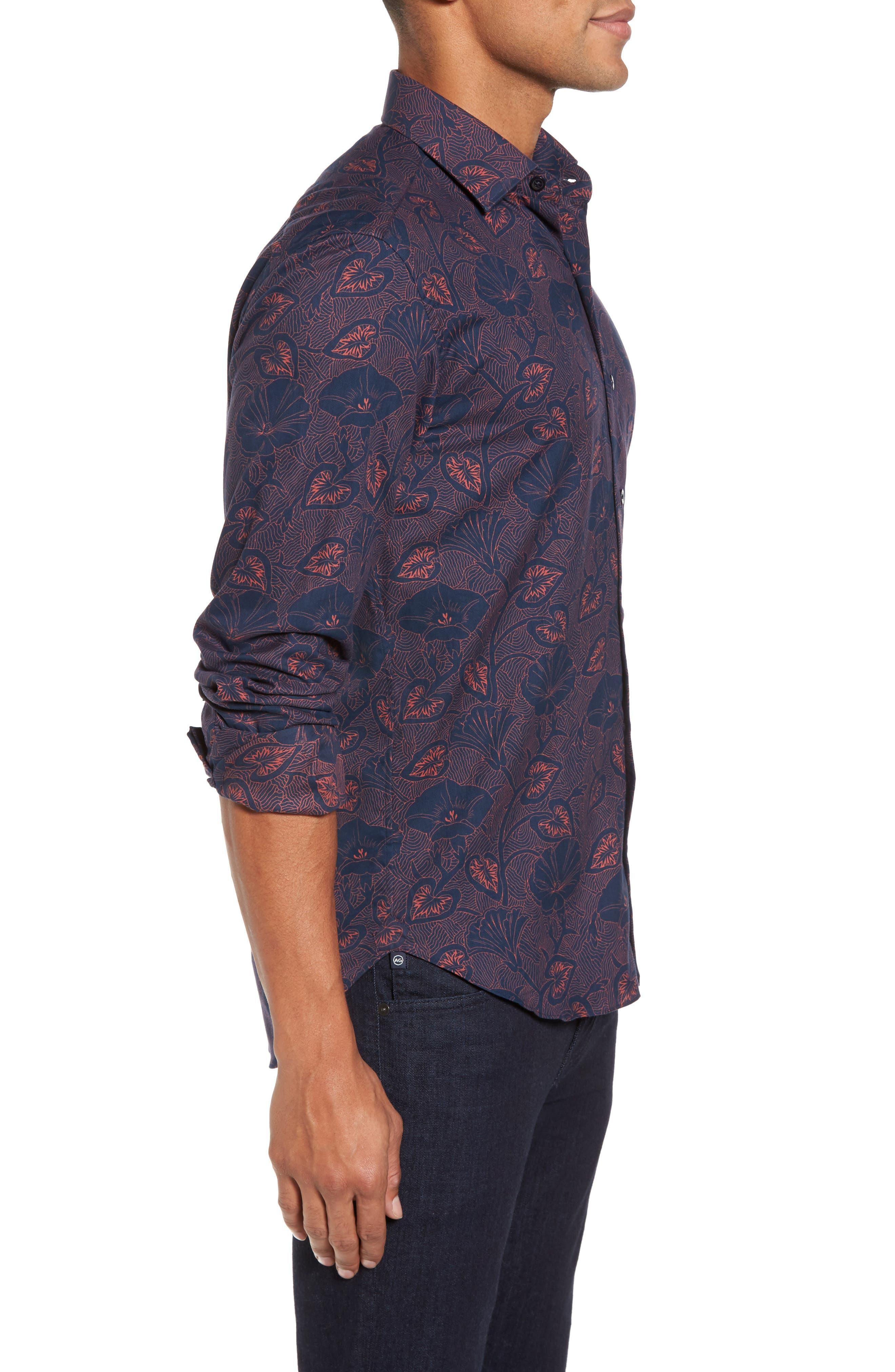 Floral Twill Sport Shirt,                             Alternate thumbnail 3, color,                             400