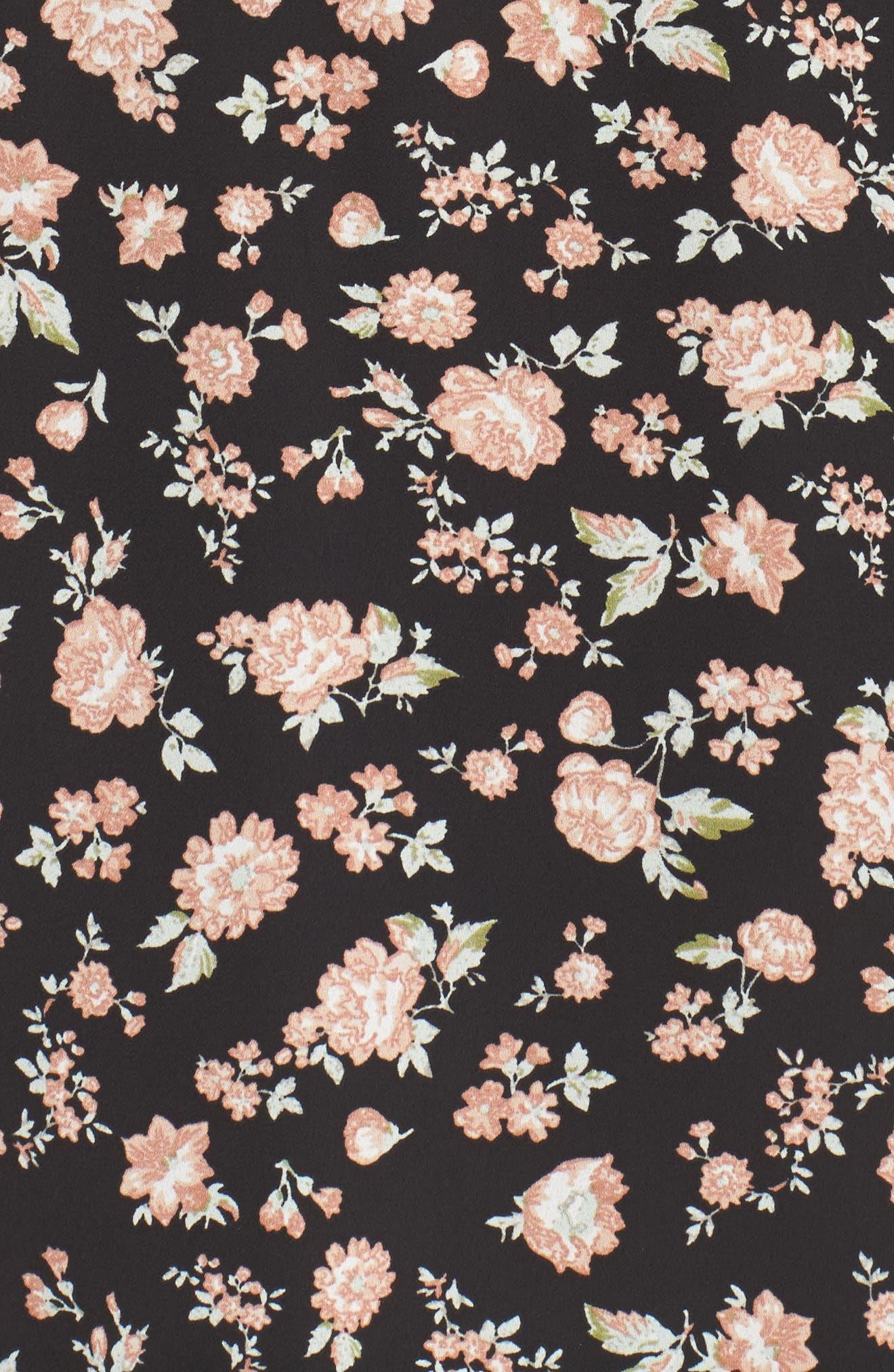 Floral Wrap Dress,                             Alternate thumbnail 5, color,                             001