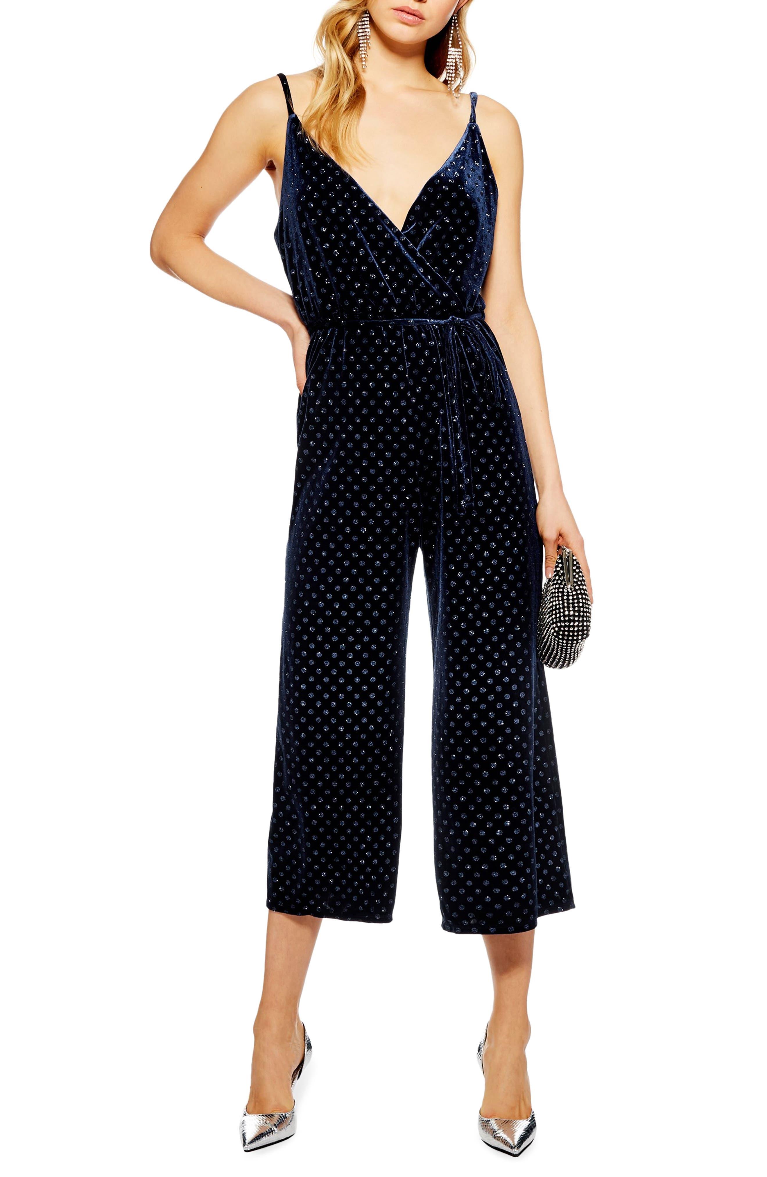 TOPSHOP Glitter Spot Jumpsuit, Main, color, NAVY BLUE