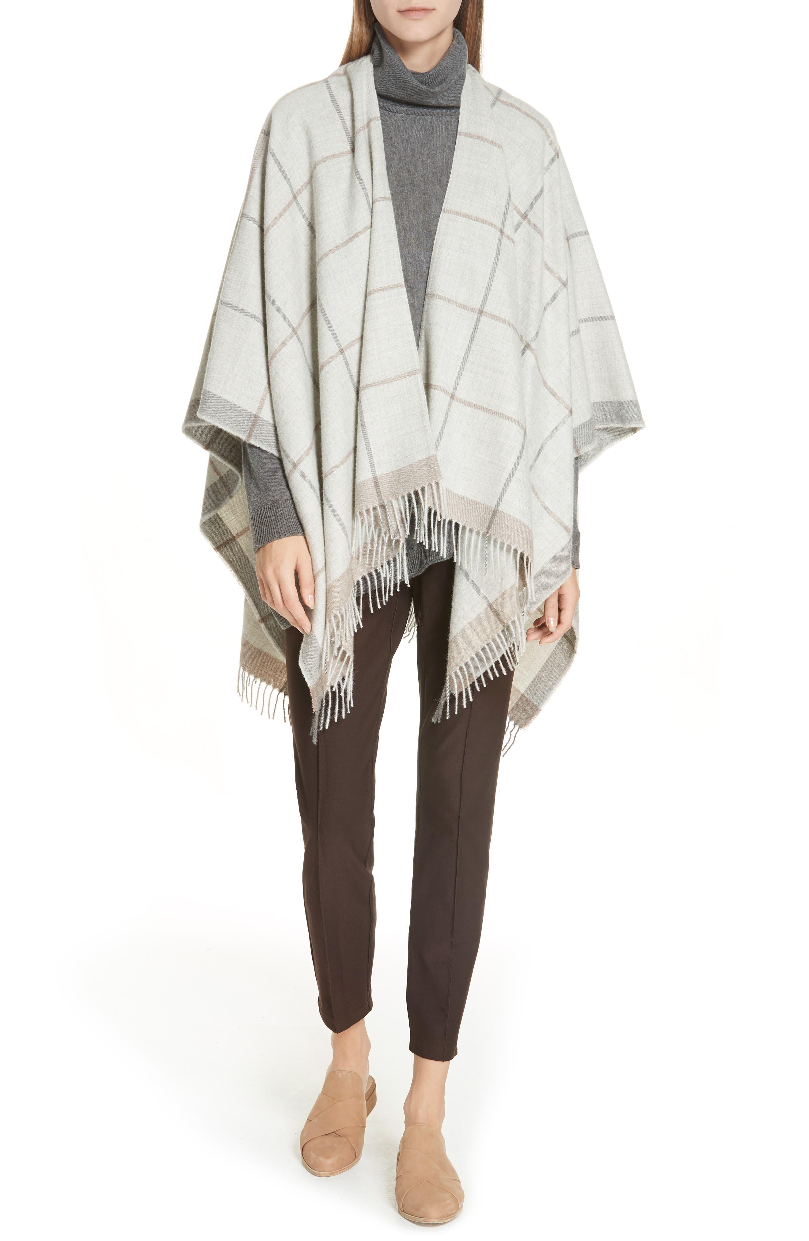 Eileen Fisher Merino Jersey Asymmetrical Turtleneck Sweater, Grey