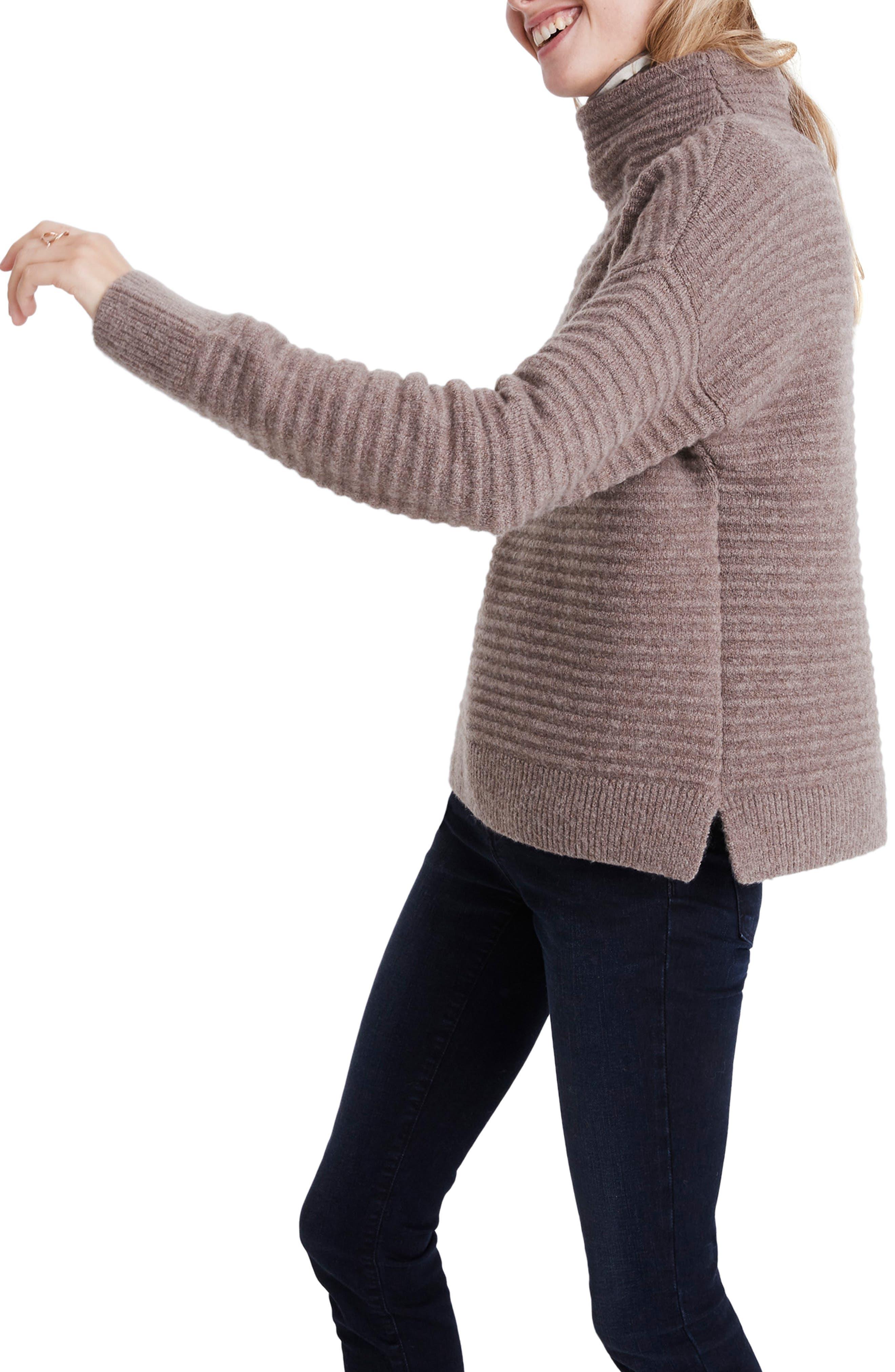 Belmont Mock Neck Sweater,                             Alternate thumbnail 3, color,                             HEATHER ROOT