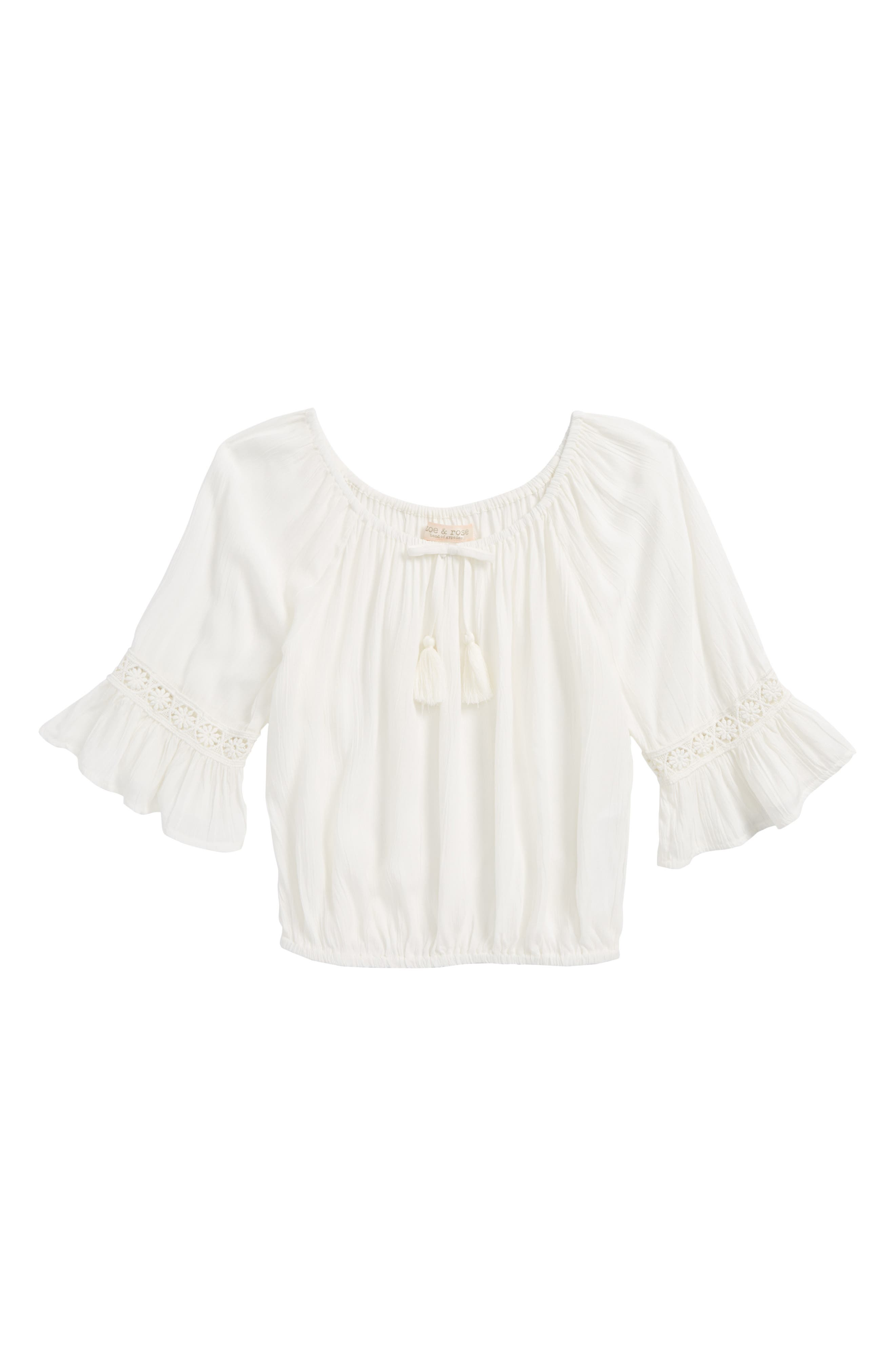 Crochet Trim Blouse,                         Main,                         color, 900