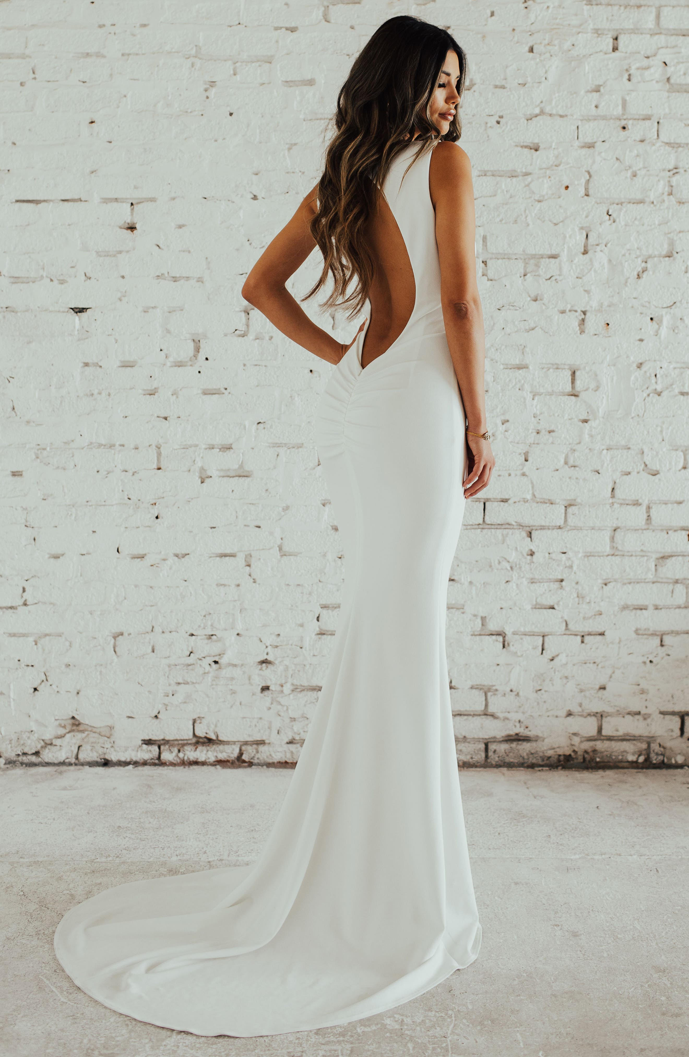 Theo Low Back Crepe Mermaid Gown,                             Alternate thumbnail 2, color,                             IVORY