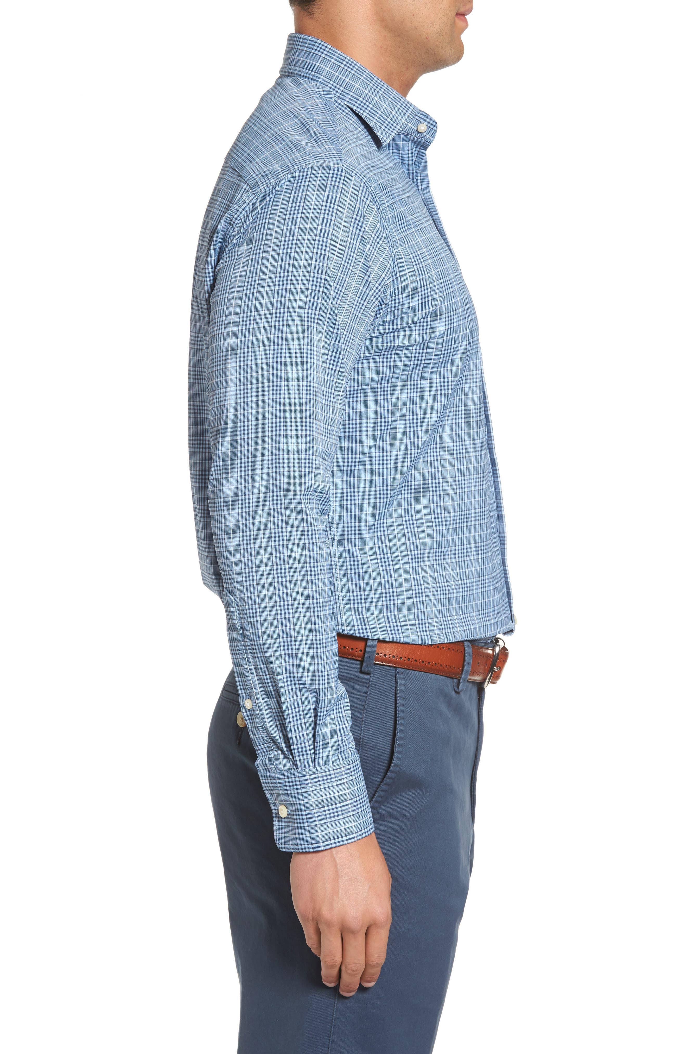Honeycomb Regular Fit Glen Plaid Performance Sport Shirt,                             Alternate thumbnail 3, color,                             402