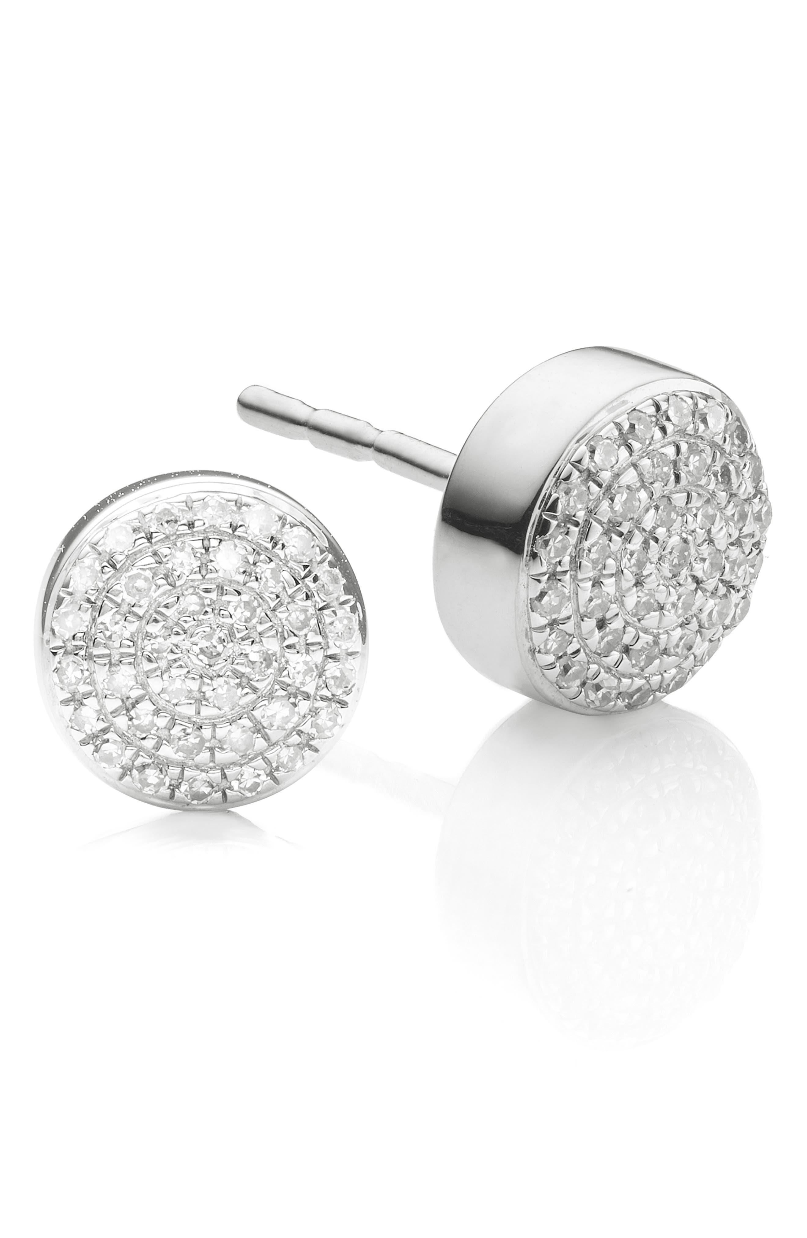 'Ava' Diamond Button Stud Earrings,                             Alternate thumbnail 4, color,                             SILVER