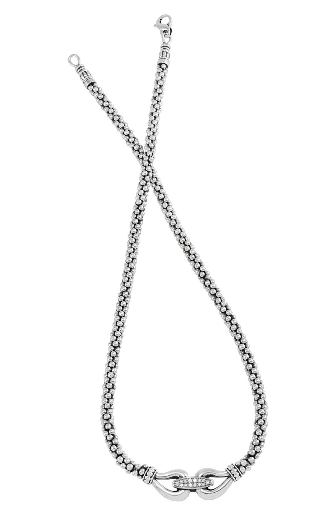 'Derby' Diamond Buckle Rope Necklace,                             Main thumbnail 1, color,                             SILVER/ GOLD