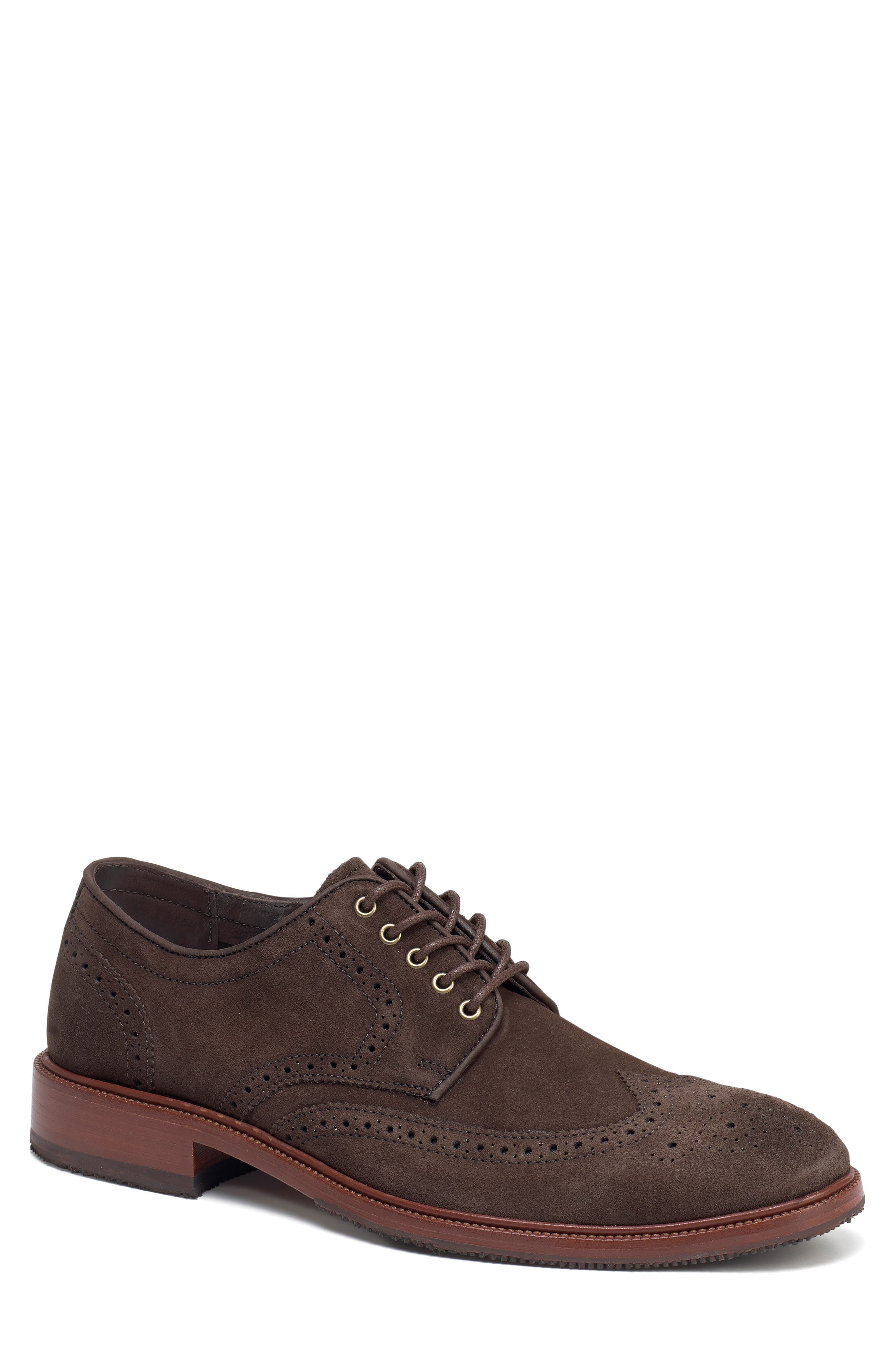 Logan Wingtip Derby,                             Main thumbnail 1, color,                             CHARCOAL SUEDE