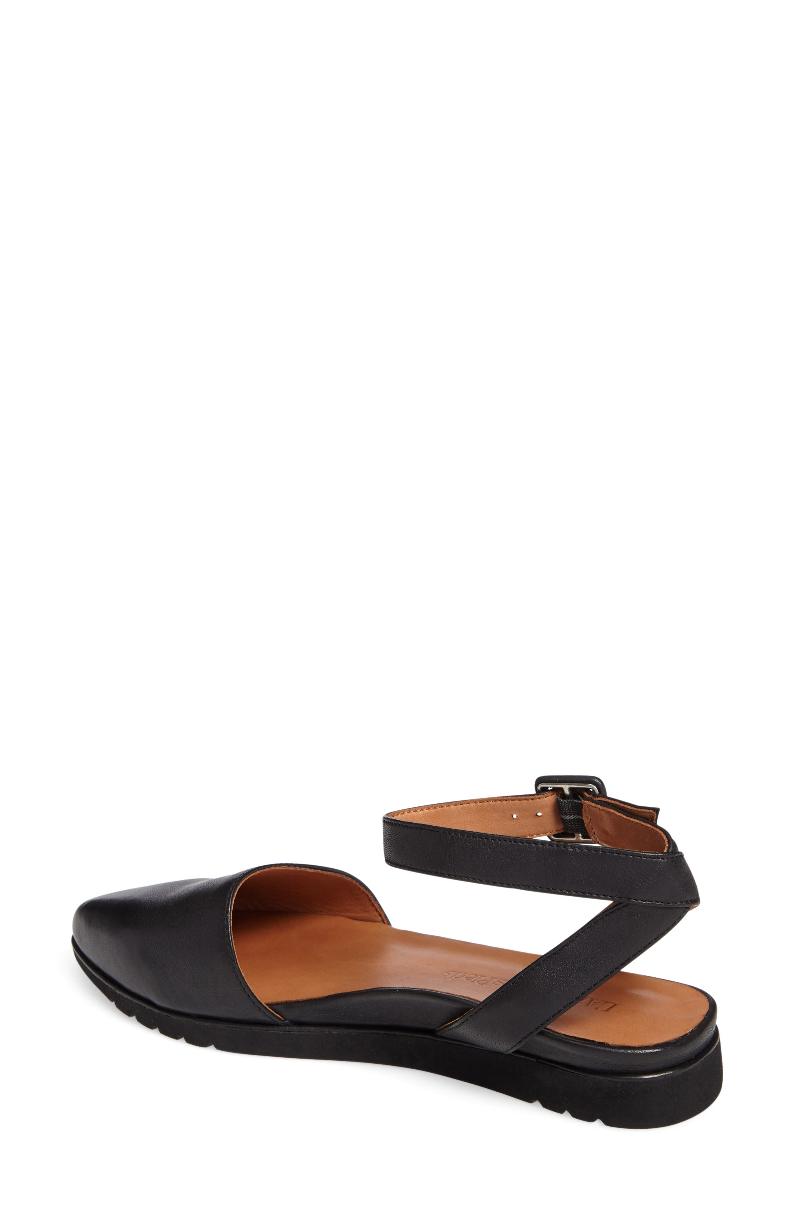 Madolen Strappy Flat,                             Alternate thumbnail 2, color,                             BLACK LEATHER