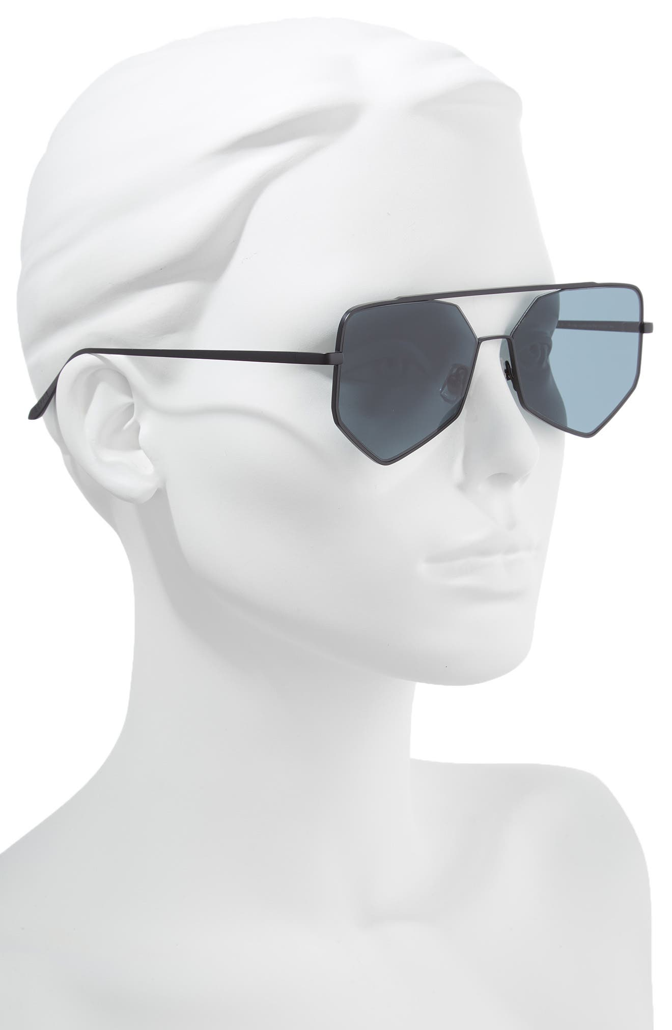 Figueroa II 57mm Aviator Sunglasses,                             Alternate thumbnail 2, color,                             BLACK