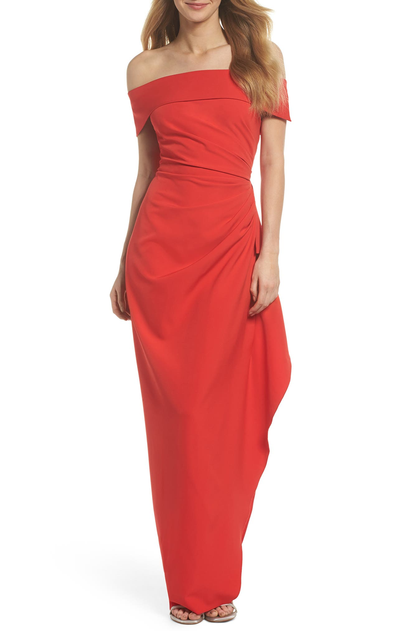 Off the Shoulder Crepe Gown,                             Main thumbnail 4, color,