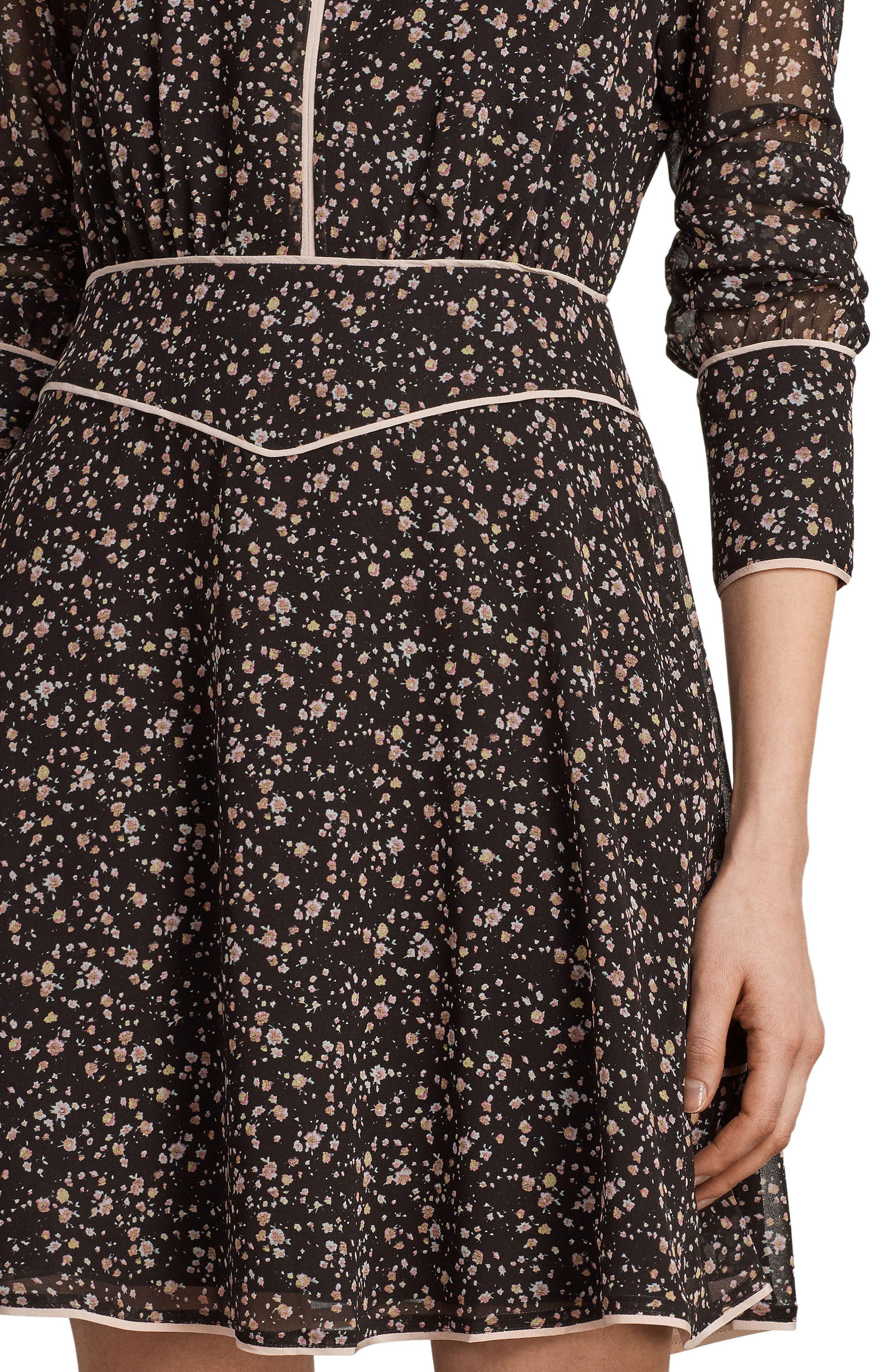 Kay Pepper Floral Print Dress,                             Alternate thumbnail 5, color,                             001