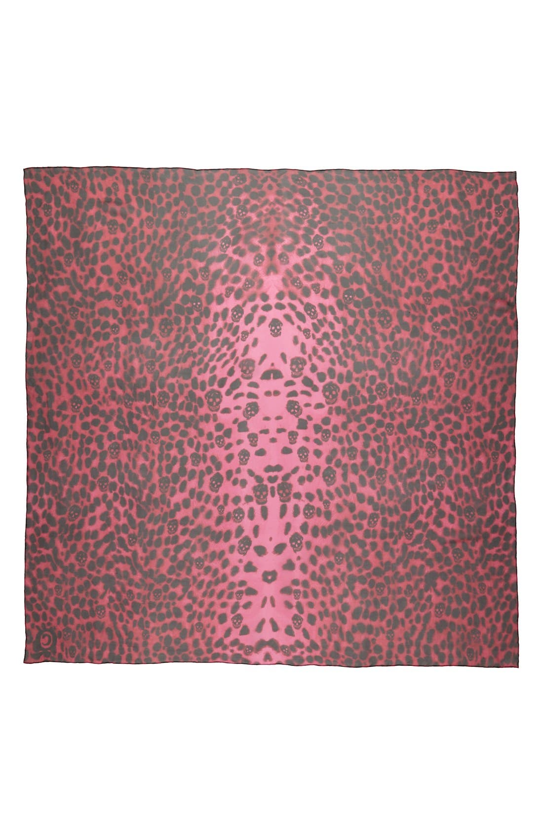 'Leopard Skull' Chiffon Scarf,                             Alternate thumbnail 3, color,                             001