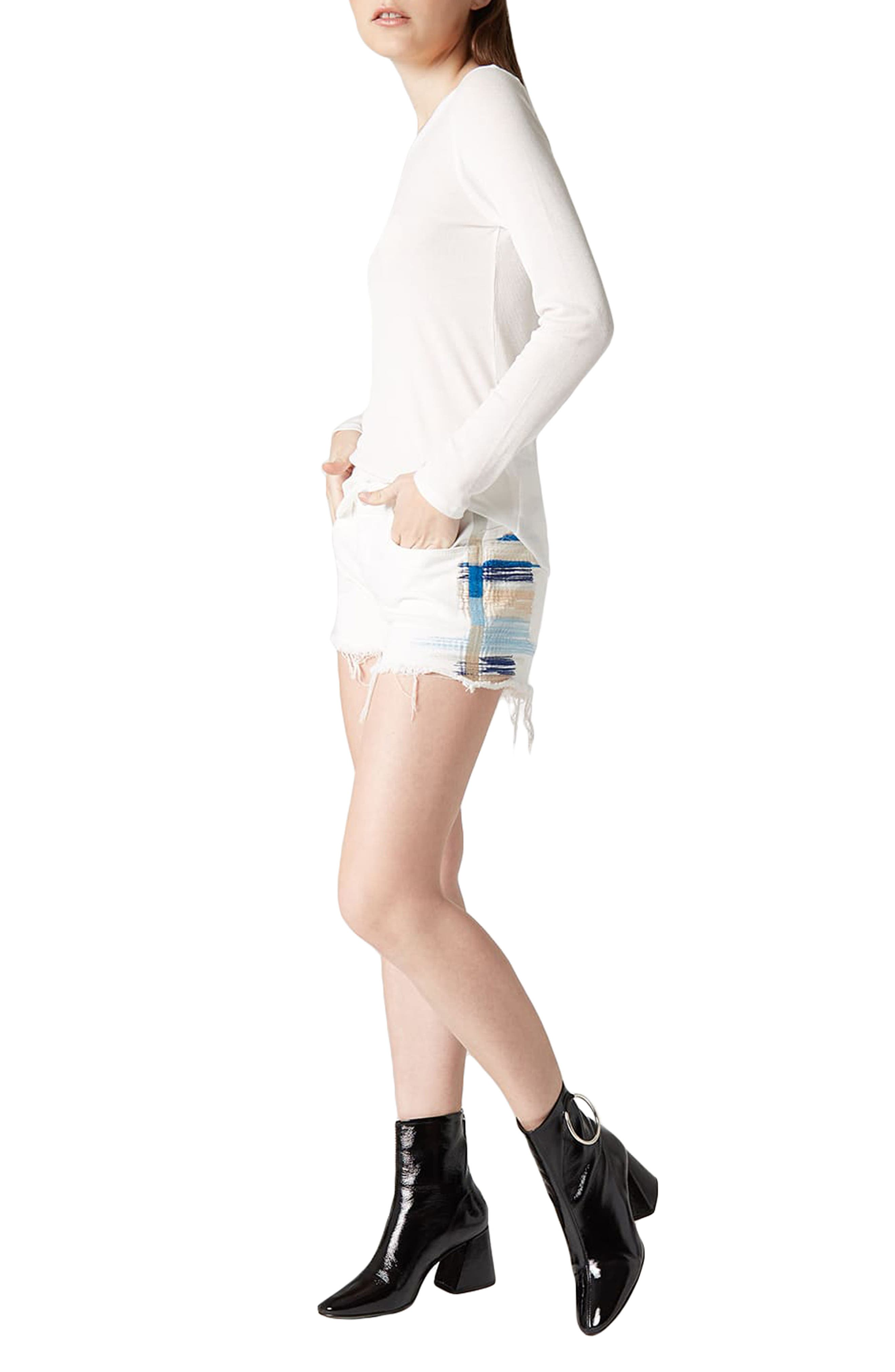 Best Coast Embroidered Denim Shorts,                             Alternate thumbnail 4, color,