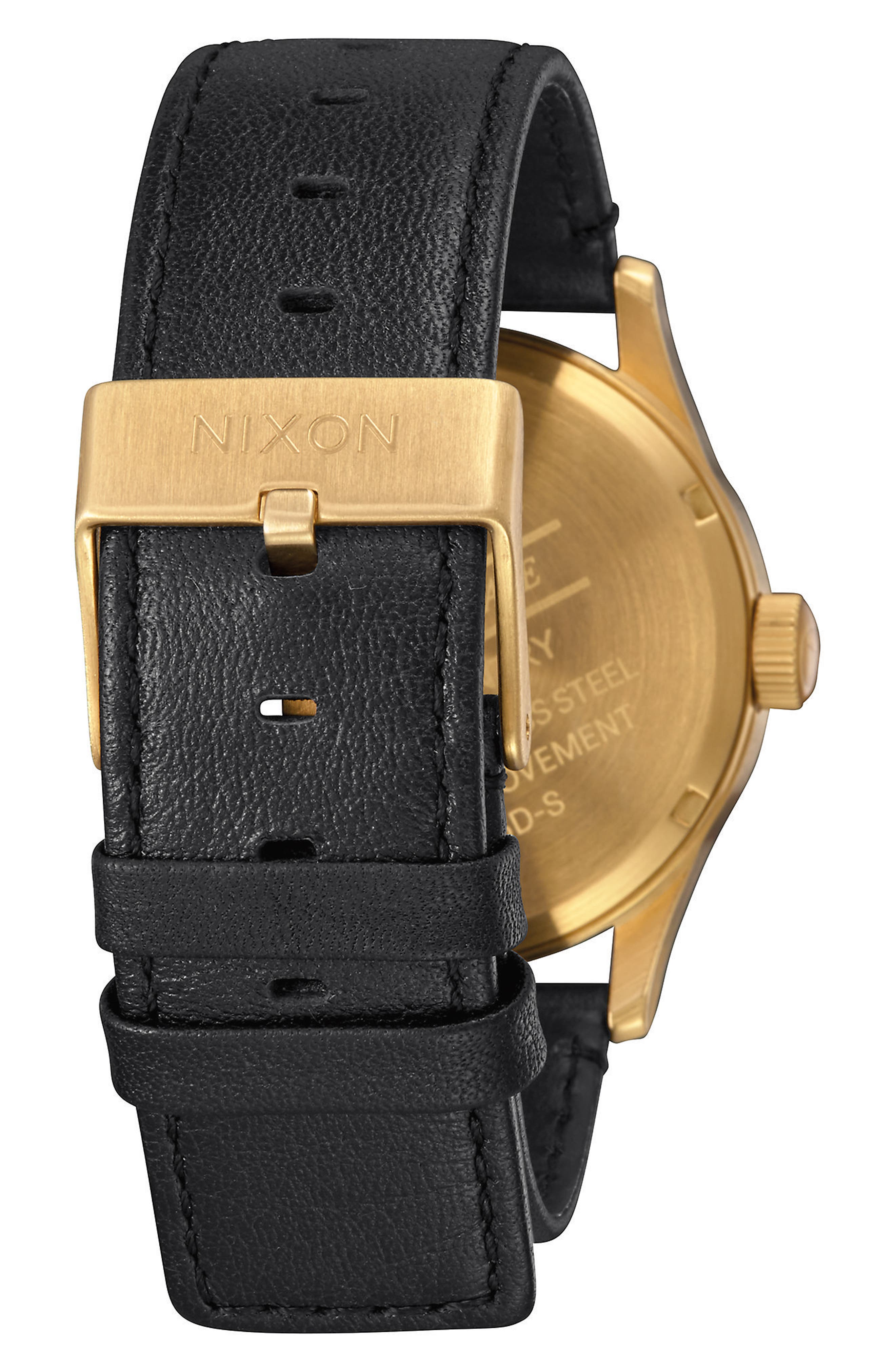 The Sentry Leather Strap Watch, 42mm,                             Alternate thumbnail 2, color,                             BLACK/ GOLD